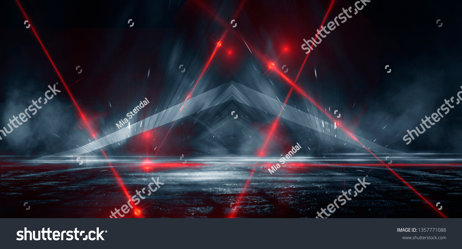 Dark street, reflection of neon light on wet asphalt. Rays of light and red laser light in the dark. Night view of the street, the city. Abstract dark blue background. #1357771088