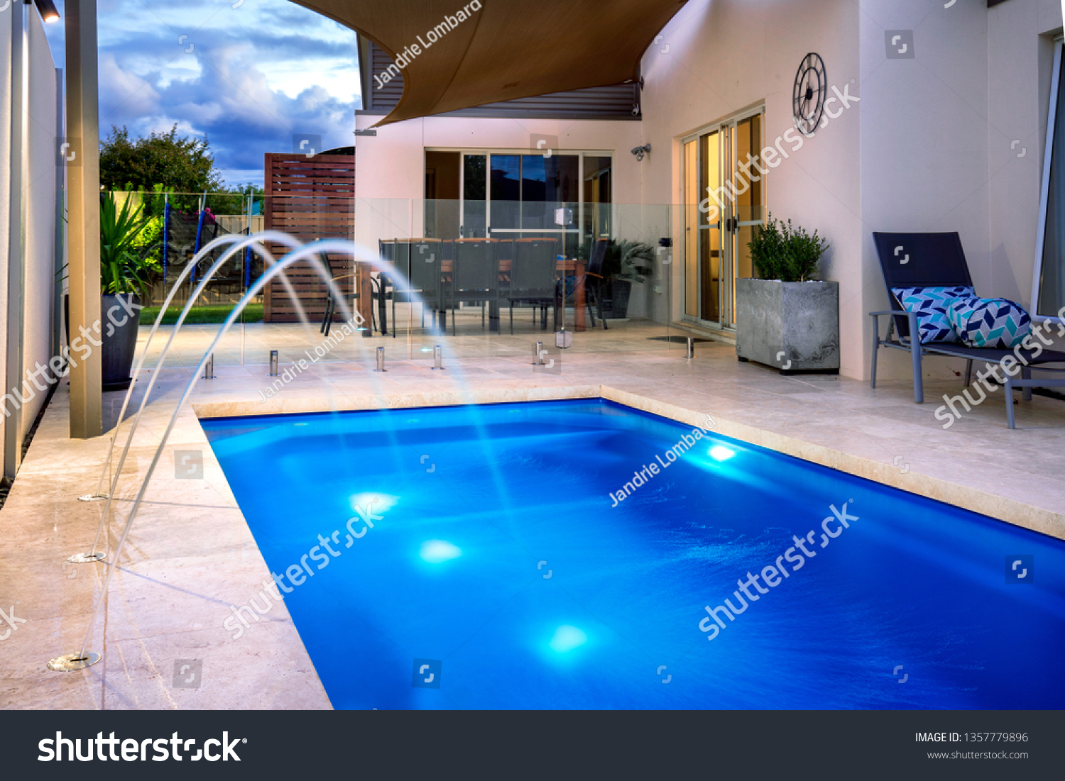 House Swimming Pool Water Feature Stock Photo Edit Now 1357779896