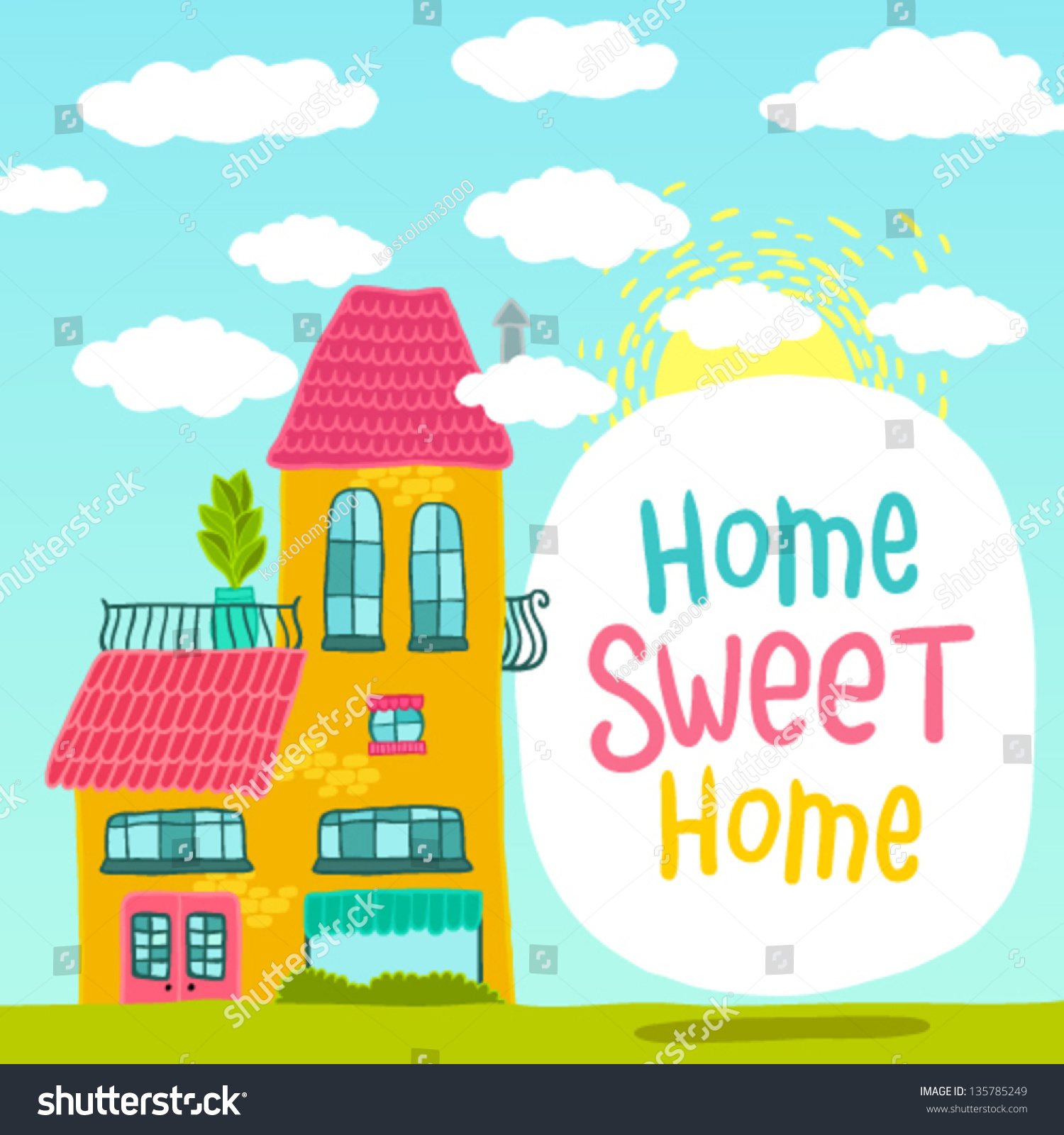 Cute cartoon house banner vector background stock vector for Cute house images