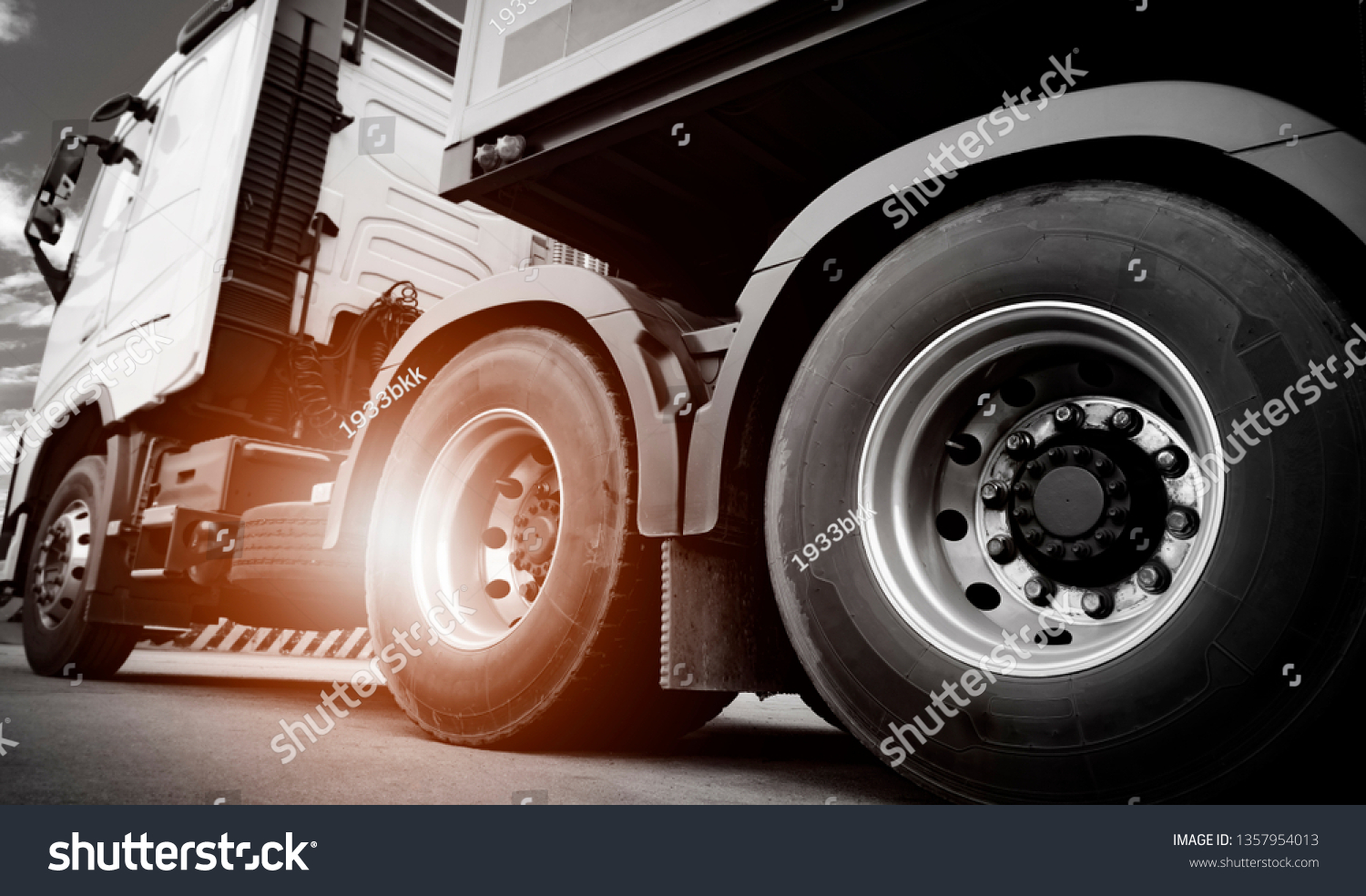 Truck transportation, close up wheel of semi truck.