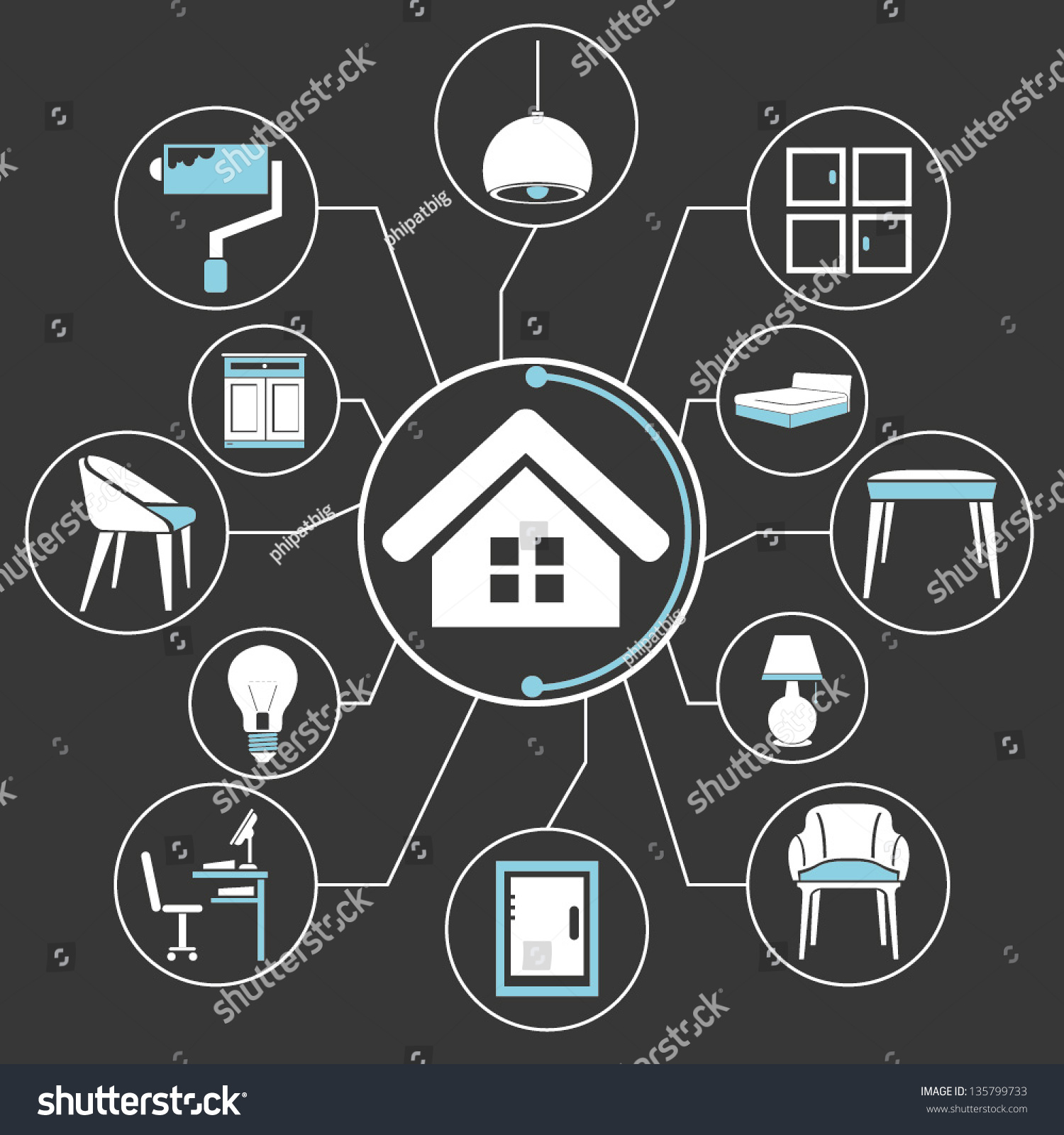 Household interior mind map info graphic stock vector 135799733 household and interior mind map info graphic biocorpaavc Images