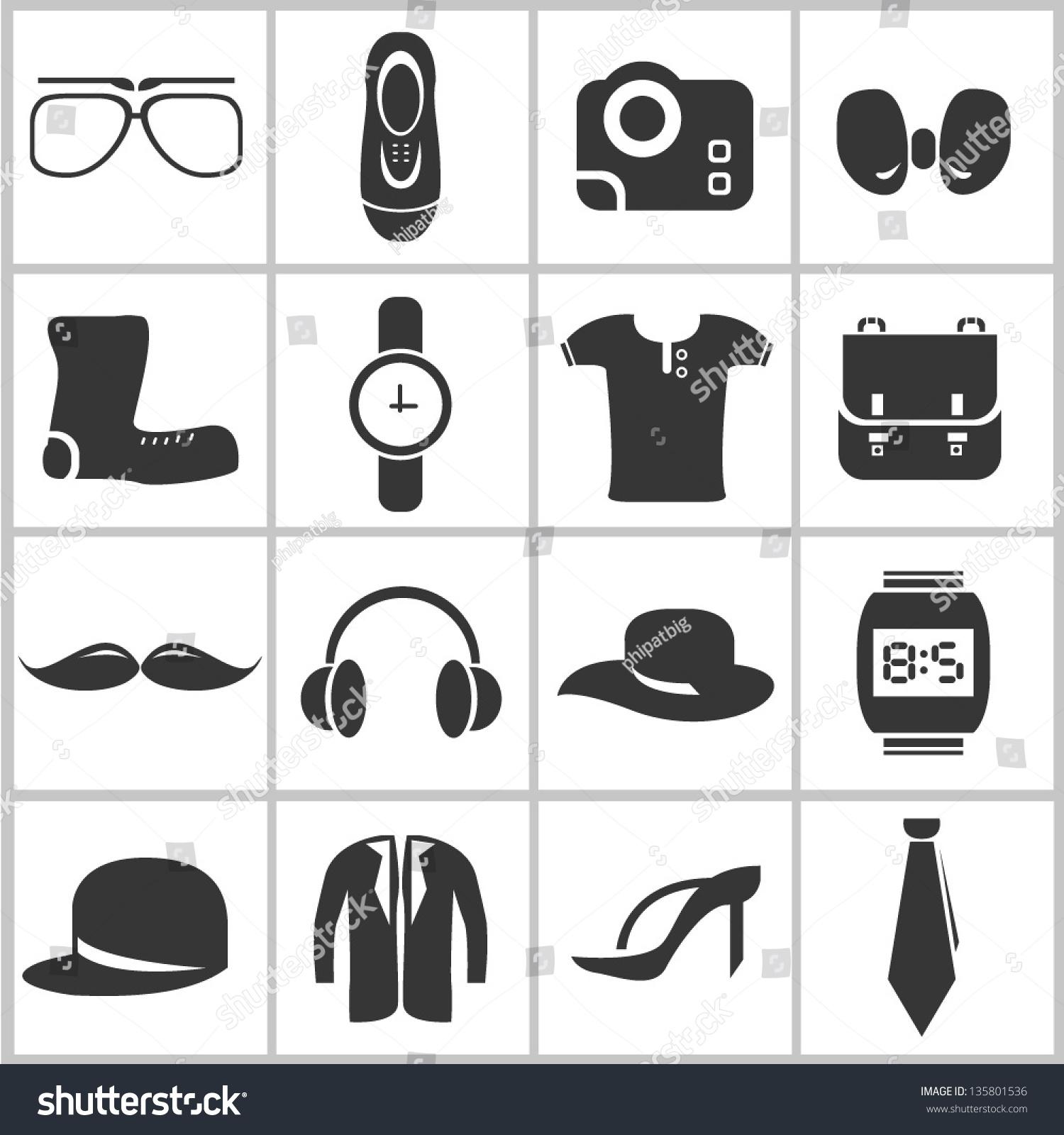Fashion Icon Set Stock Vector Illustration 135801536 Shutterstock