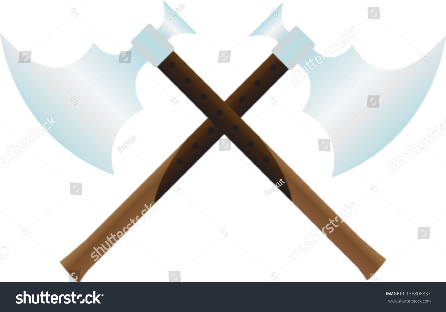 Two crossed ancient axe stock vector 135806837 shutterstock two crossed ancient axe buycottarizona Choice Image
