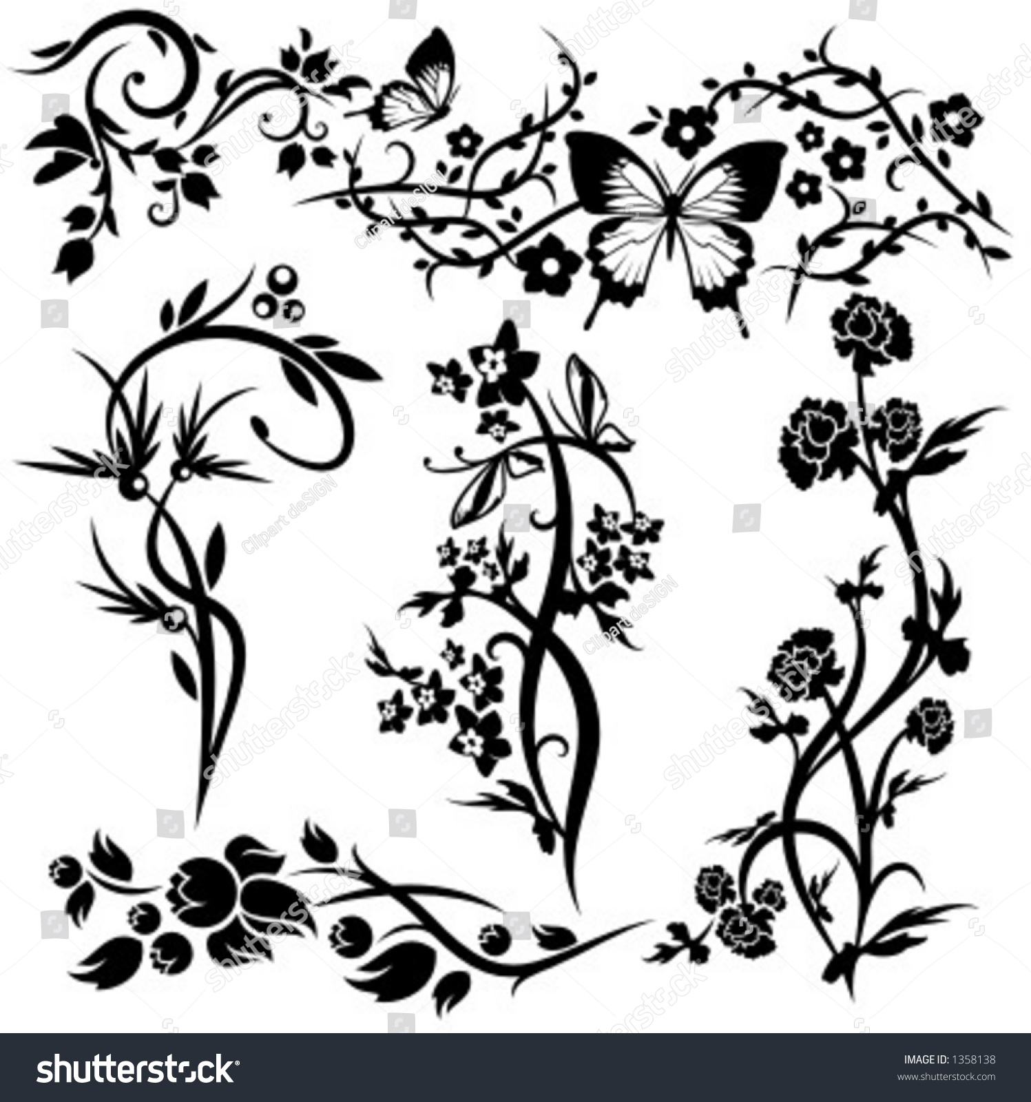 Set 6 Chinese Floral Designs Stock Vector 2018 Shutterstock