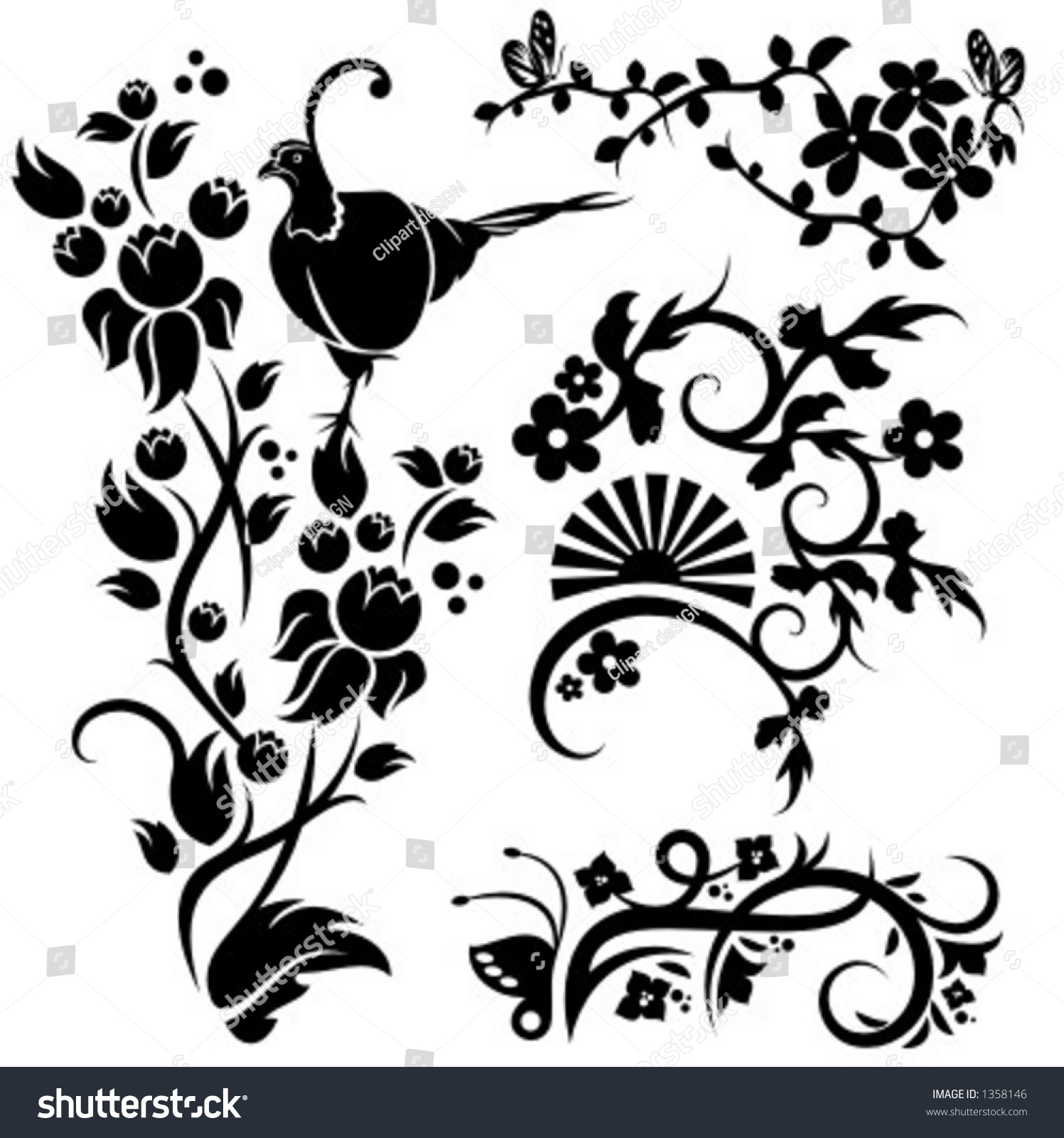 Set 4 Chinese Floral Designs Stock Vector Shutterstock