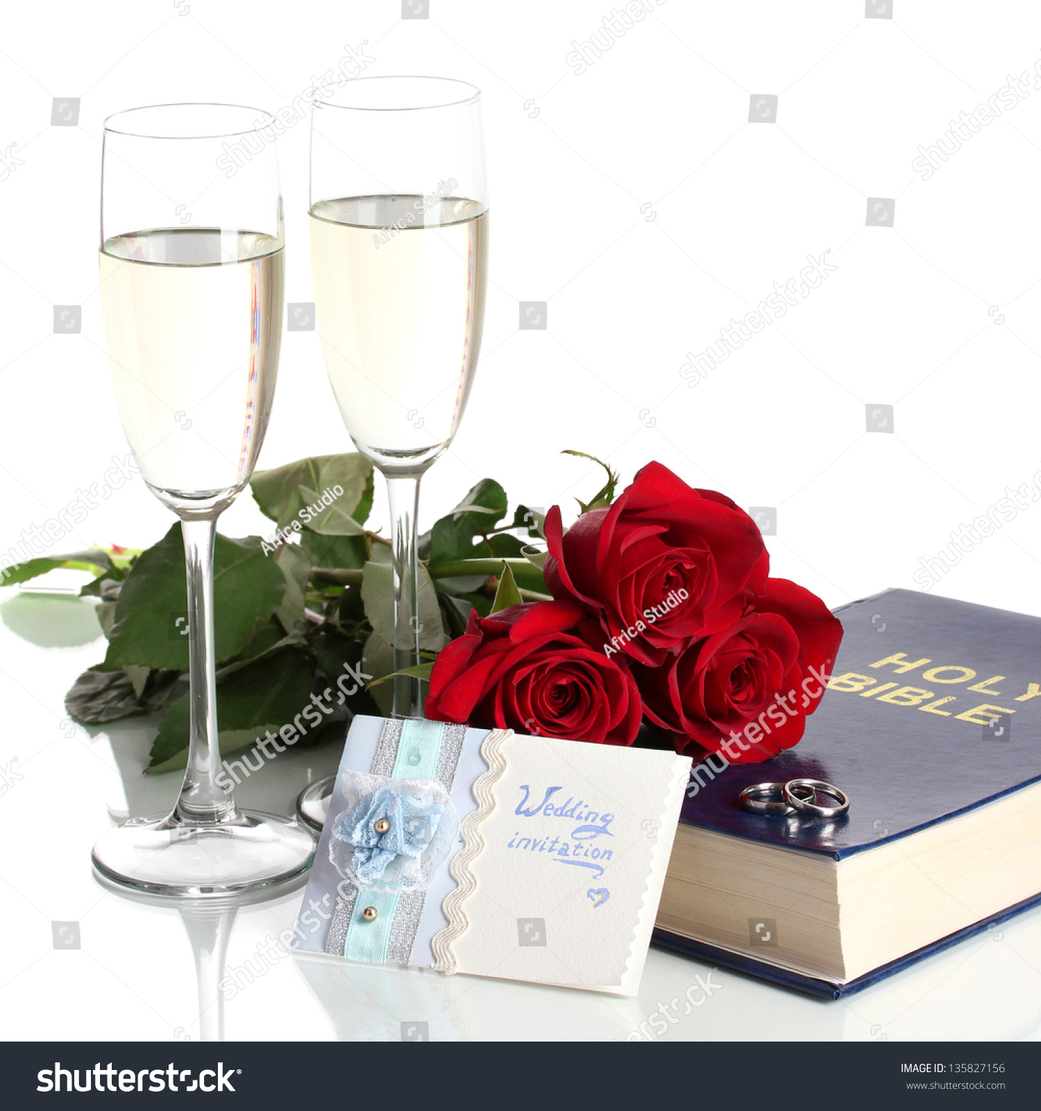 Wedding Rings On Bible Roses Glasses Stock Photo (Edit Now ...
