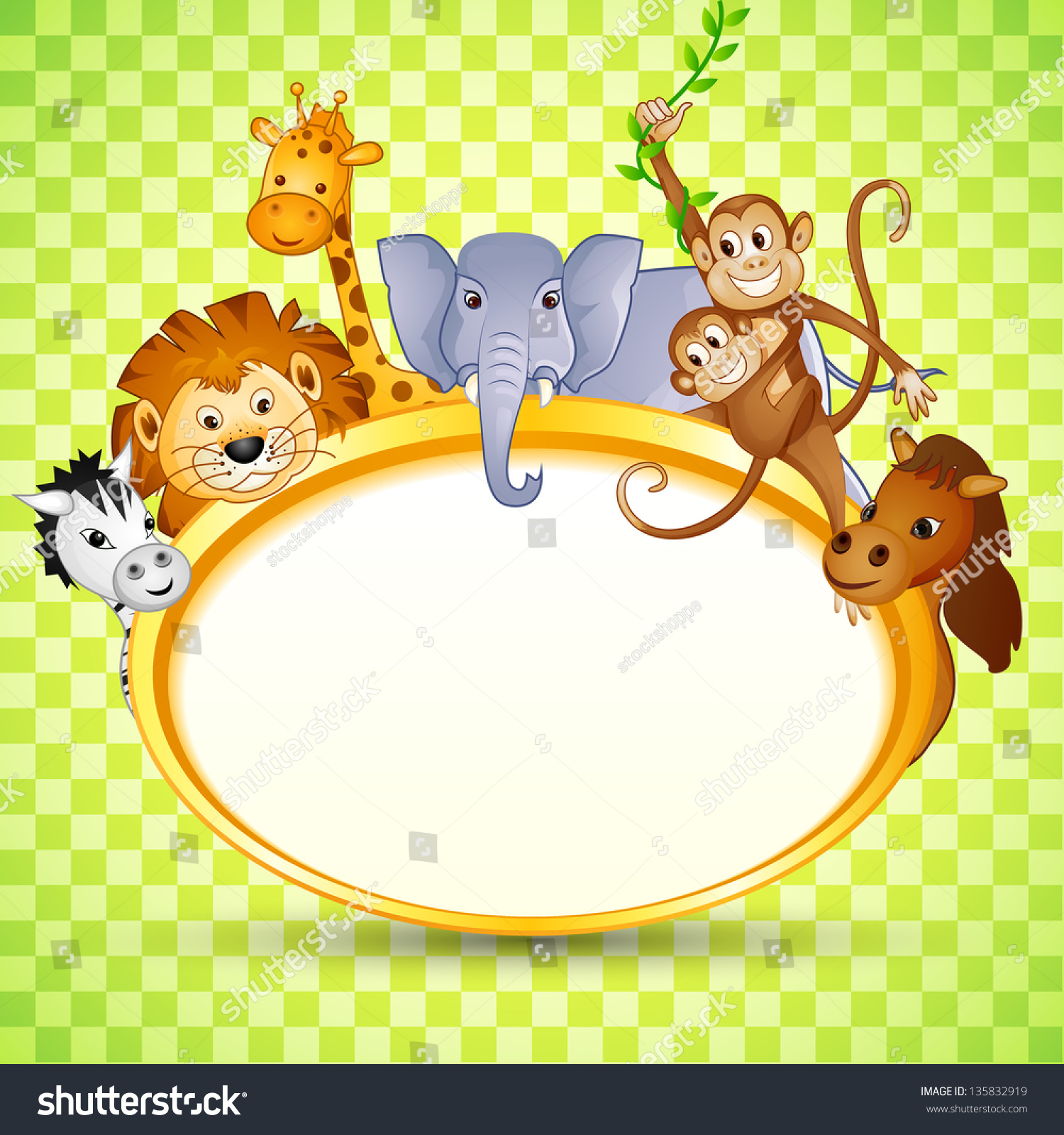 Vector Illustration Of Cute Animal In Baby Shower ...