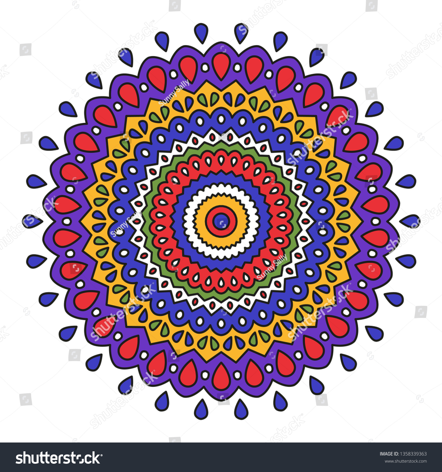 stock vector colorful mandala design decoration ornament or for a coloring book page