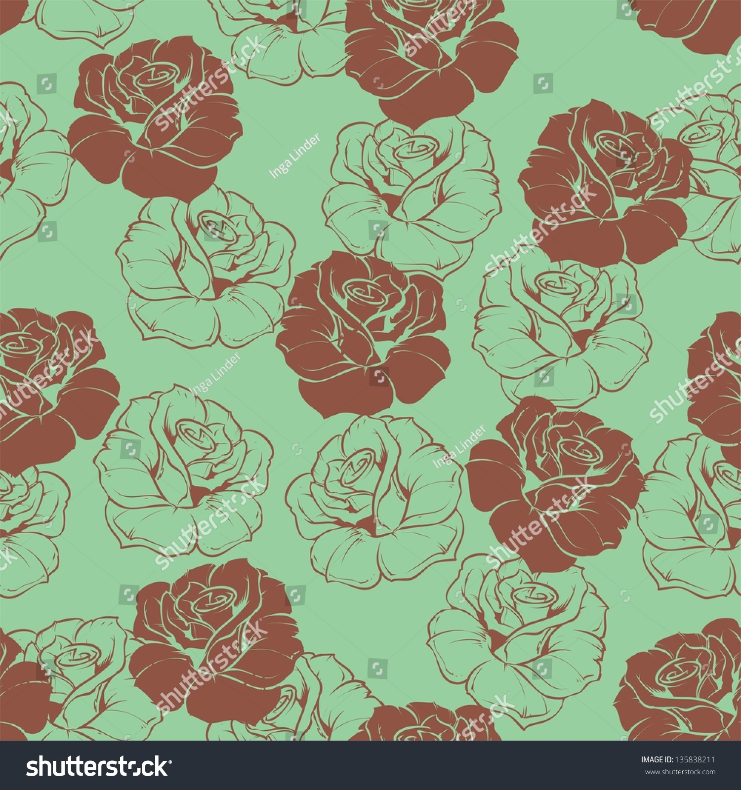 Seamless Floral Pattern Chocolate Brown Roses Stock Illustration