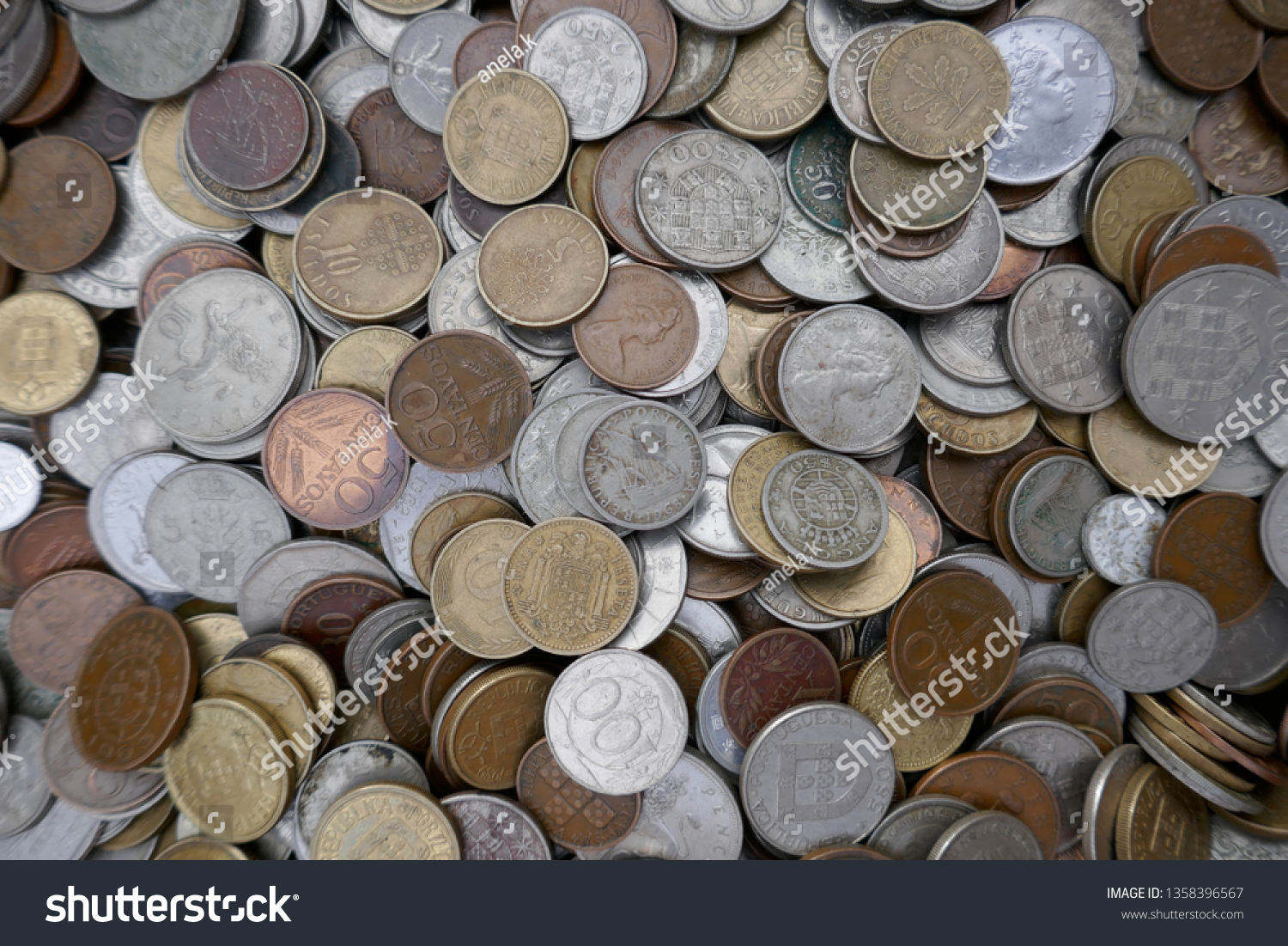 Money Coins Collection Old Invalid International Stock Photo (Edit