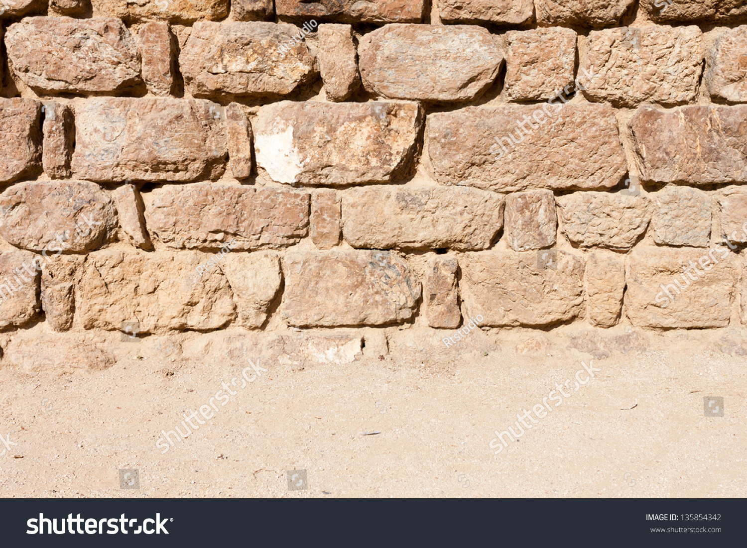 Vintage Stone Walls : Vintage stone wall and sandy floor texture background