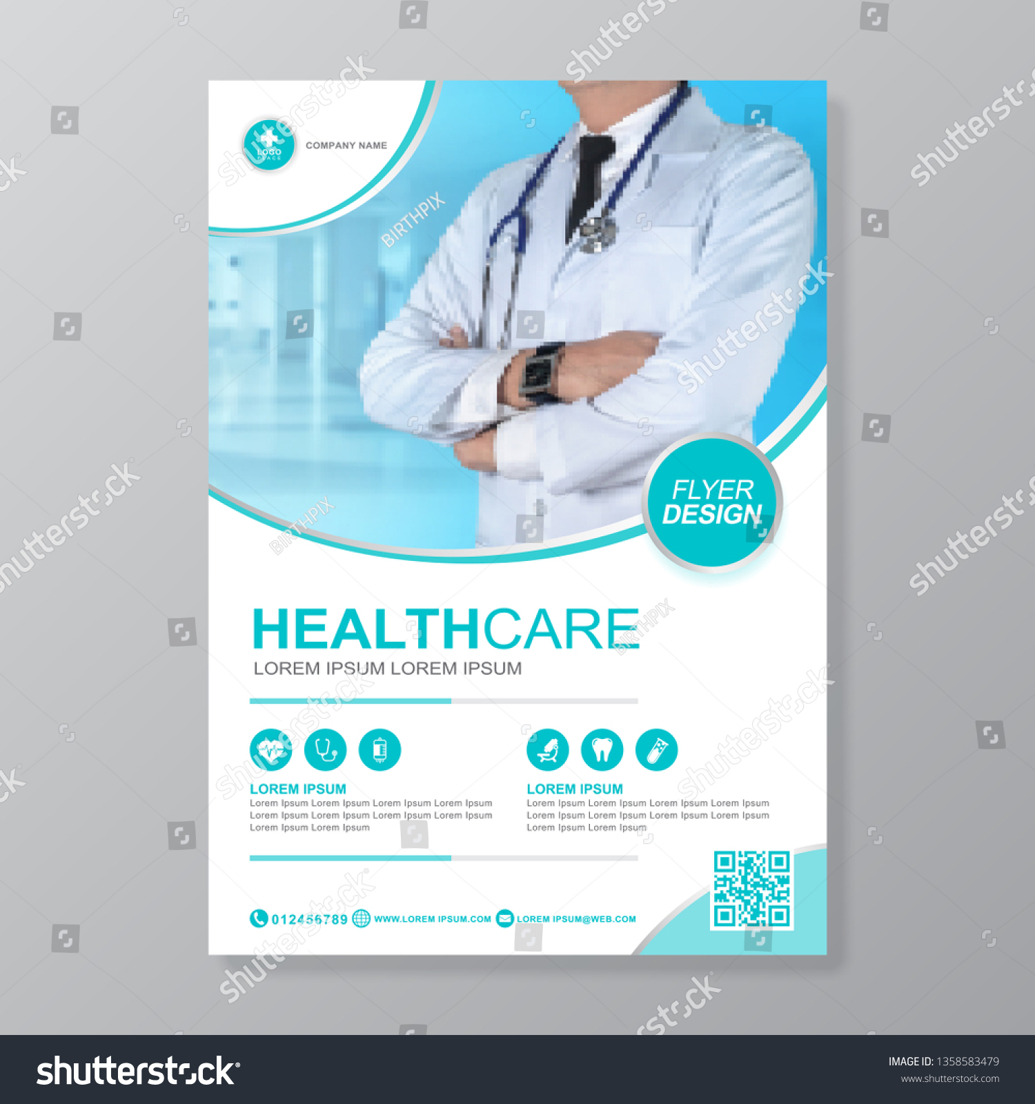 Healthcare Cover A4 Template Design Report Stock Vector