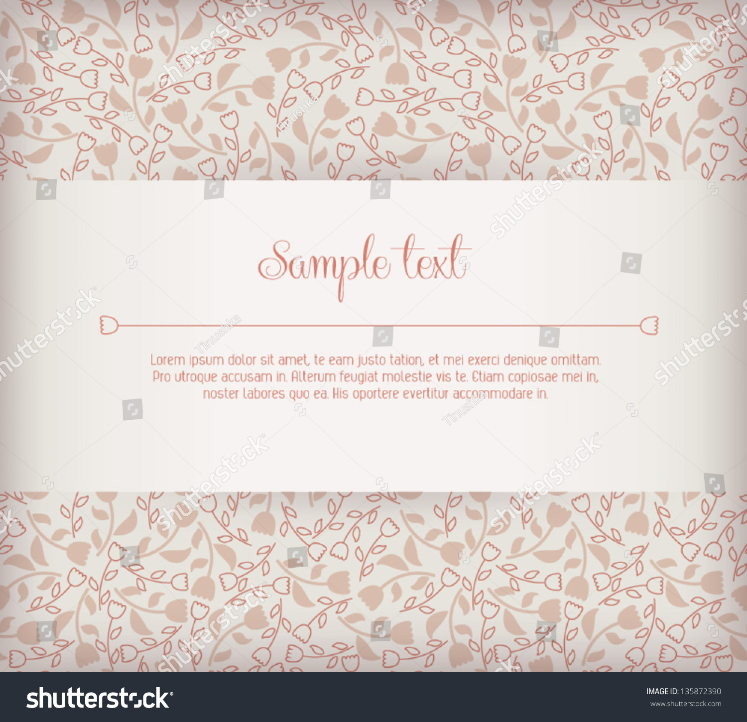 Elegant Wedding Invitation Card Sample Text Stock Vector 135872390 ...