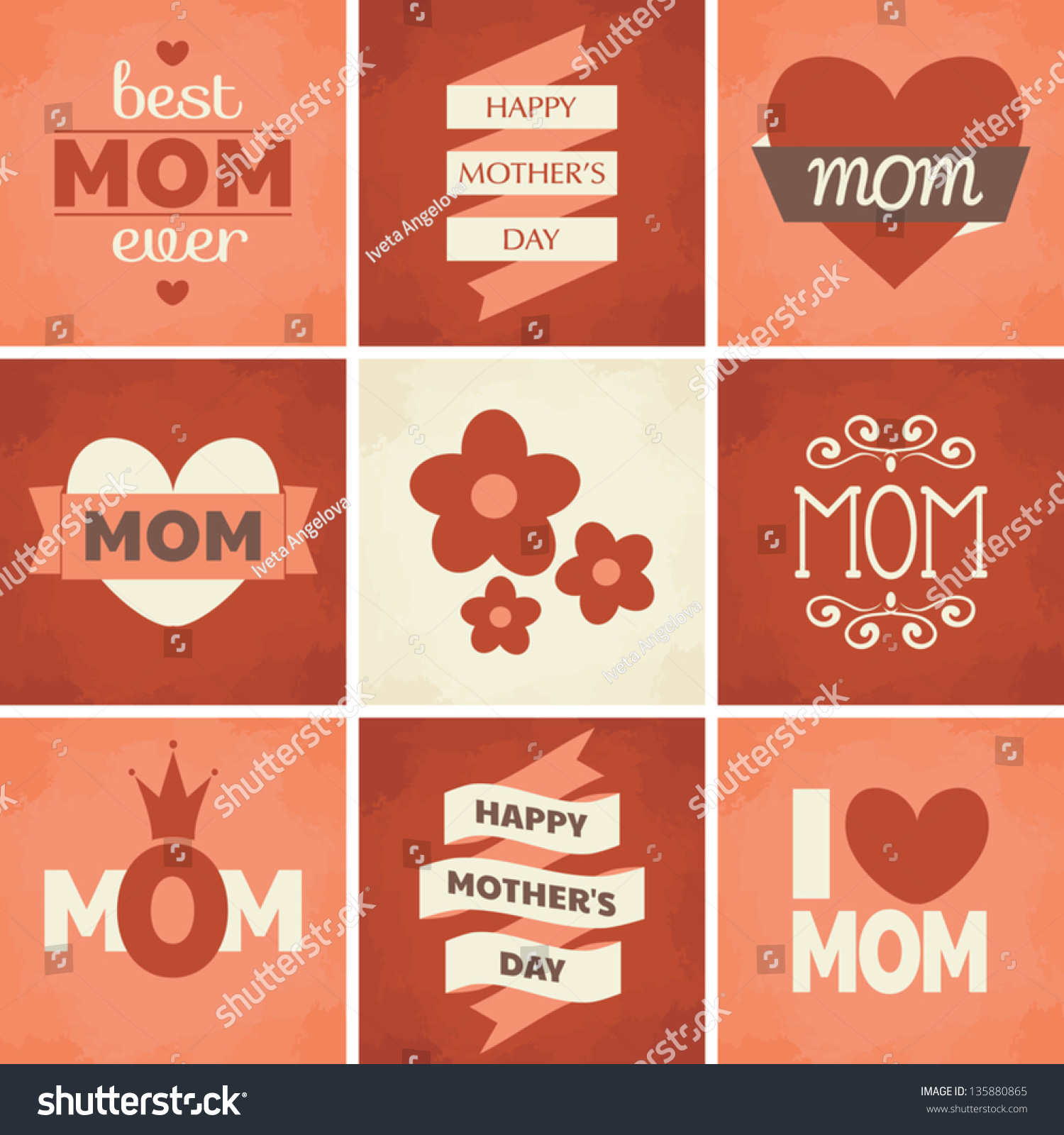 Set Cute Retro Designs Mothers Day Stock Vector 135880865 ...