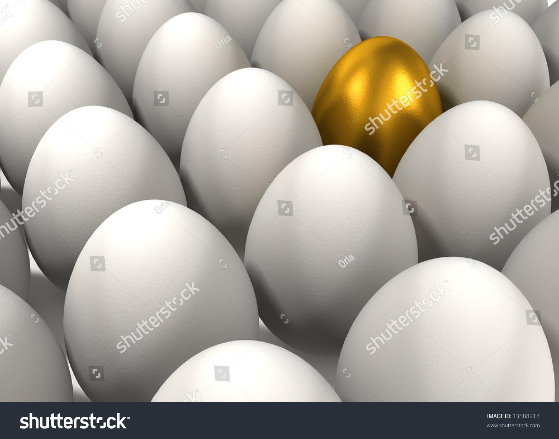 Outstanding Golden Egg Among Other Normal Stock Illustration ...