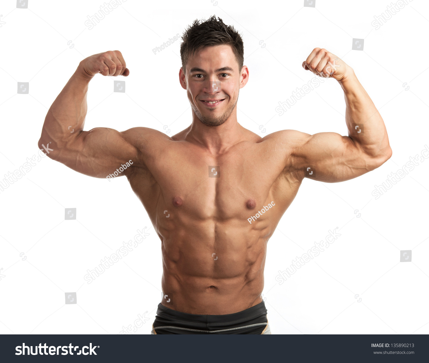 Stock Photo Waist Up Portrait Of Muscular Man Flexing His Biceps Against White Background Strong Muscles Male Arm