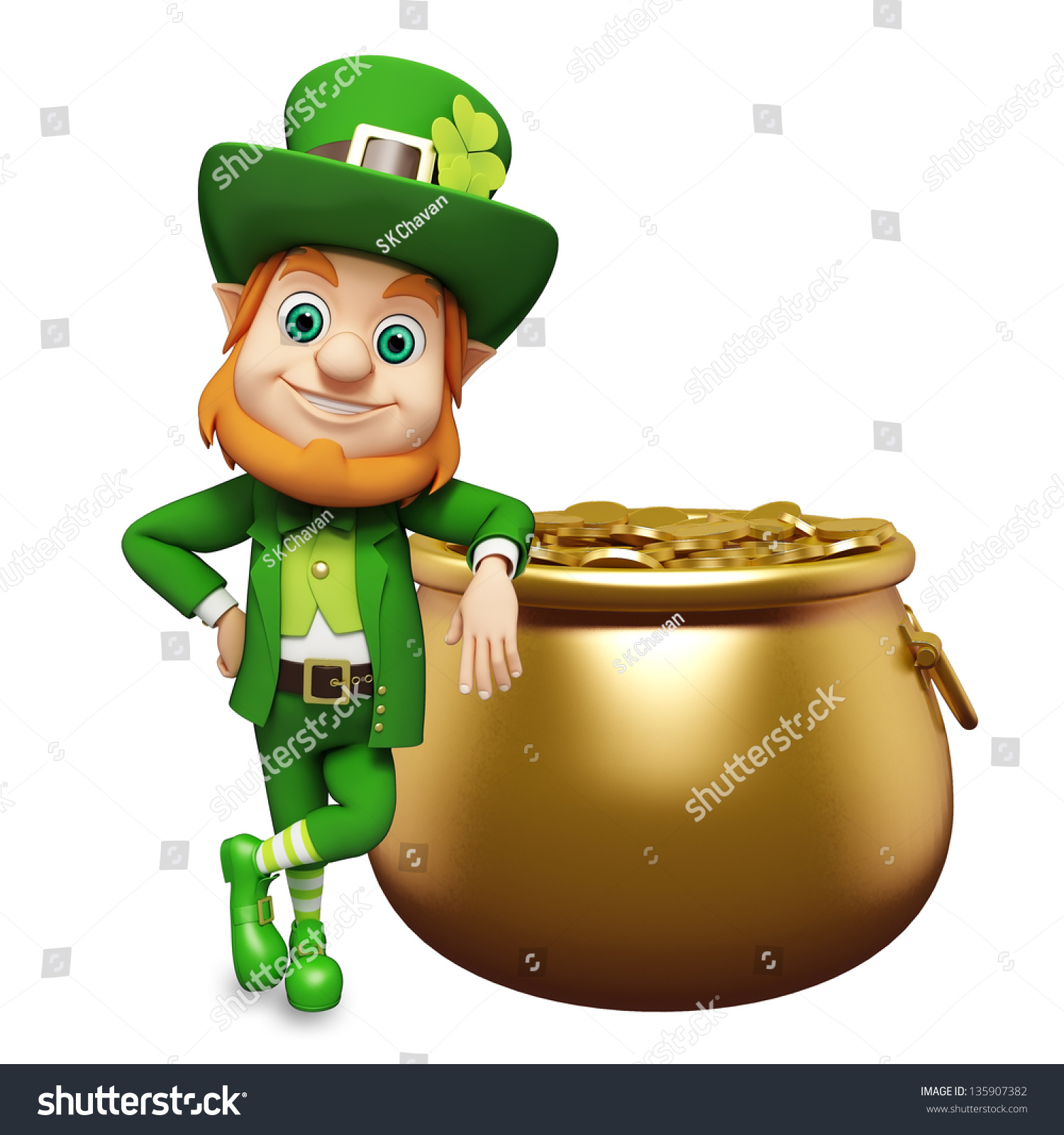 leprechaun golden coins pot st patrick stock illustration