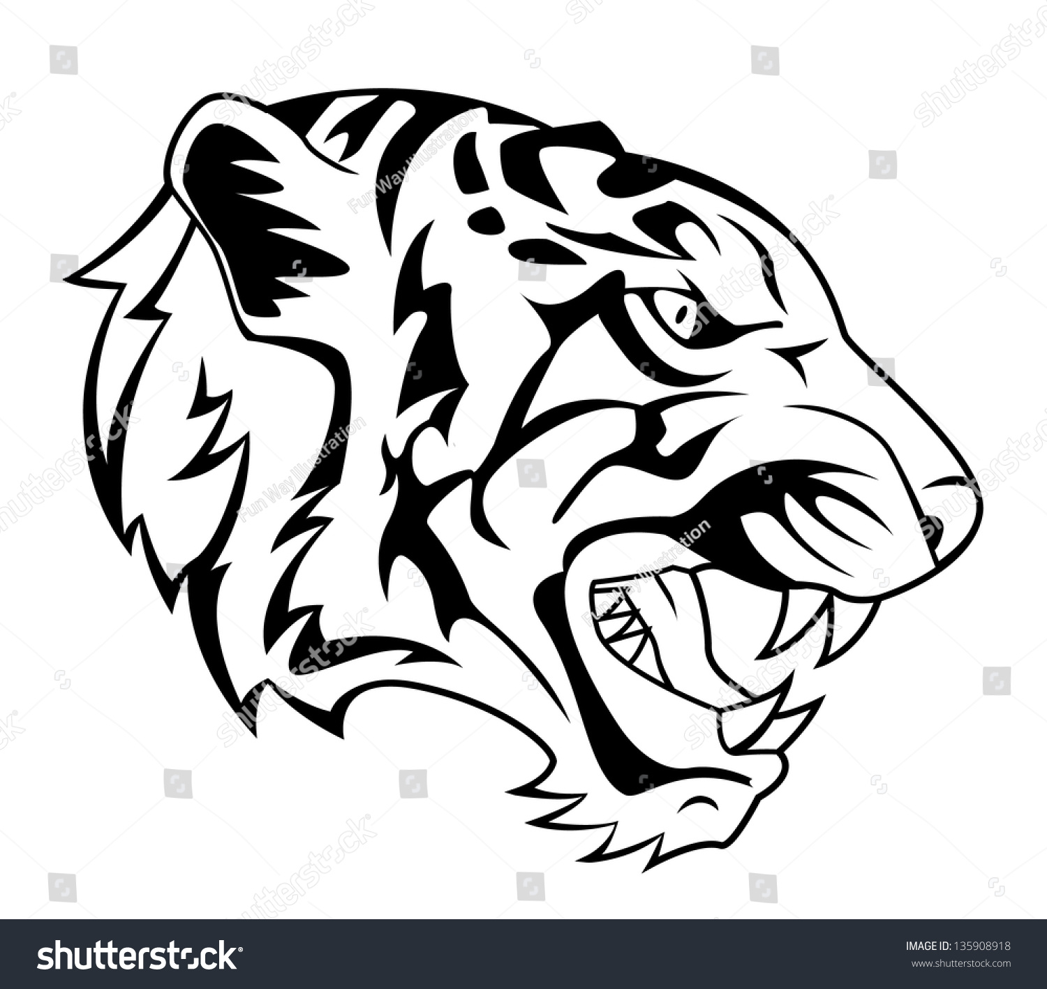 Tiger roar vector - photo#1