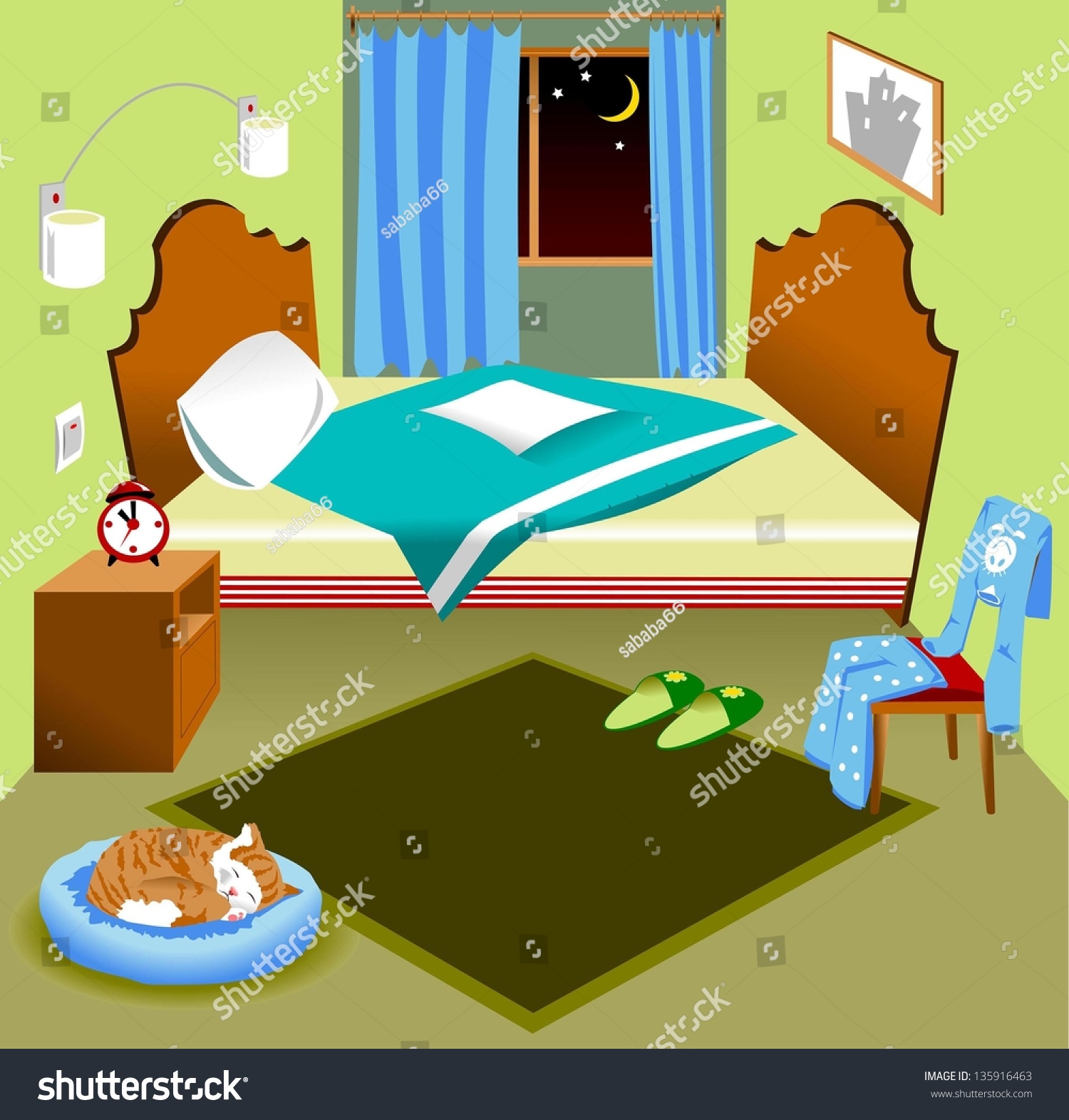 Interior Of A Bedroom With A Bed And A Window The Night Illustration