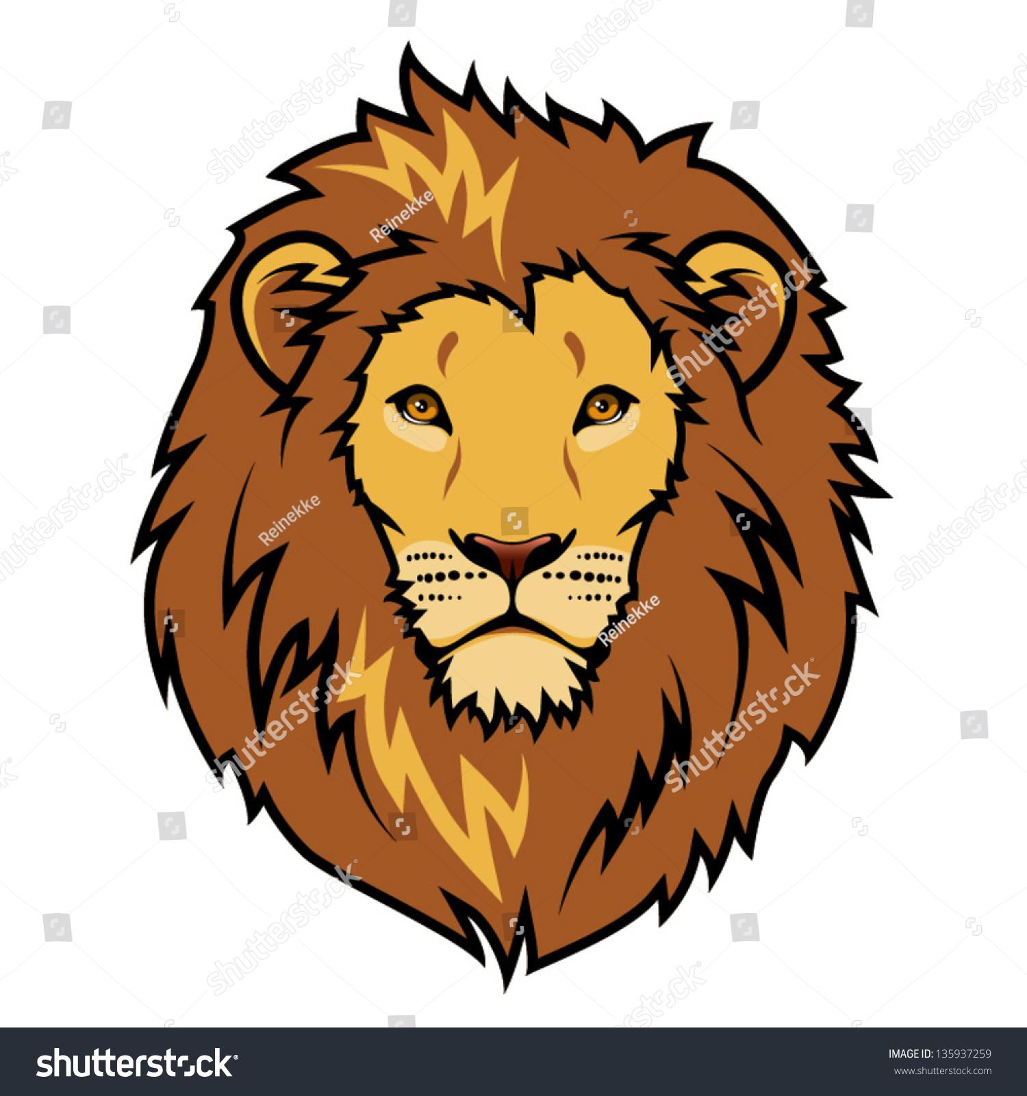 lion head color illustration