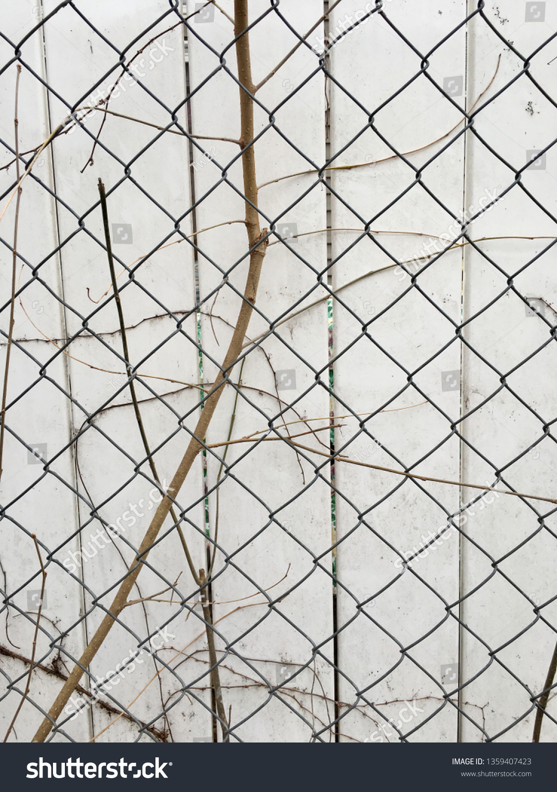 Chain Link Fence Front Privacy Fence Stock Photo Edit Now 1359407423