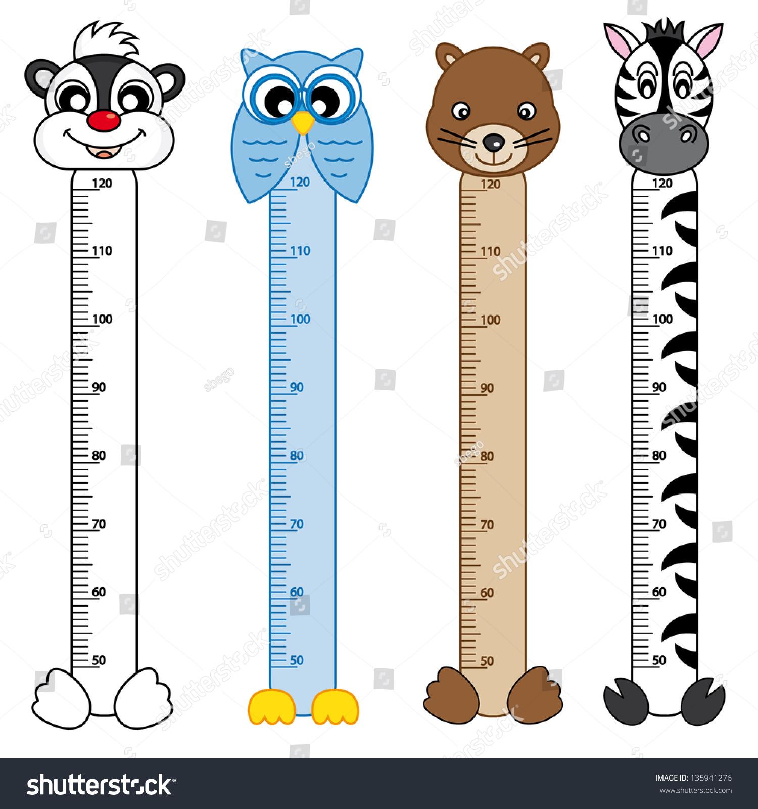Bumper Children Meter Wall Animals Stickers Stock Vector ...