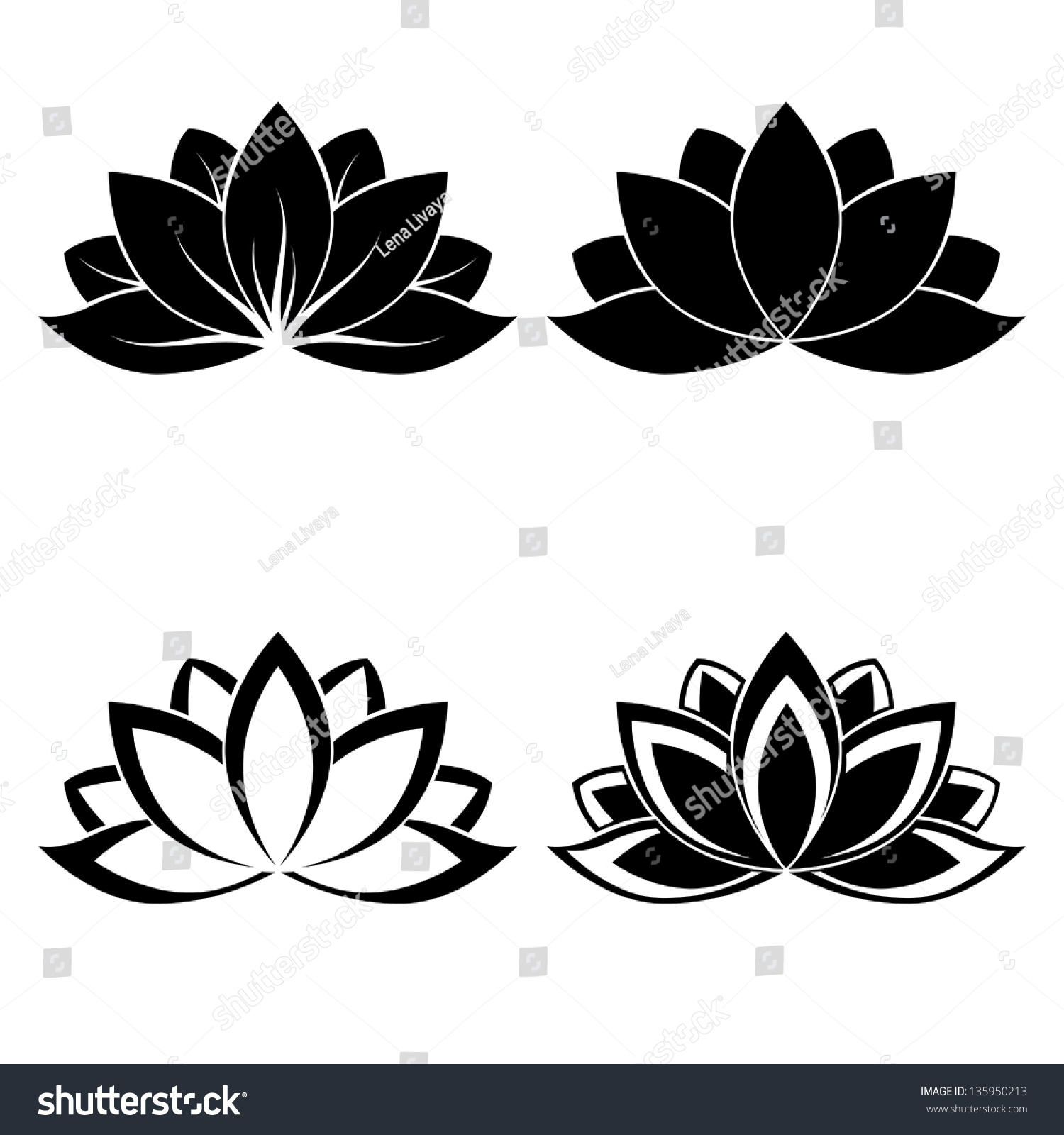 Yoga pattern background seamless pattern with five petals lotus flower - Four Lotus Silhouettes For Design Vector