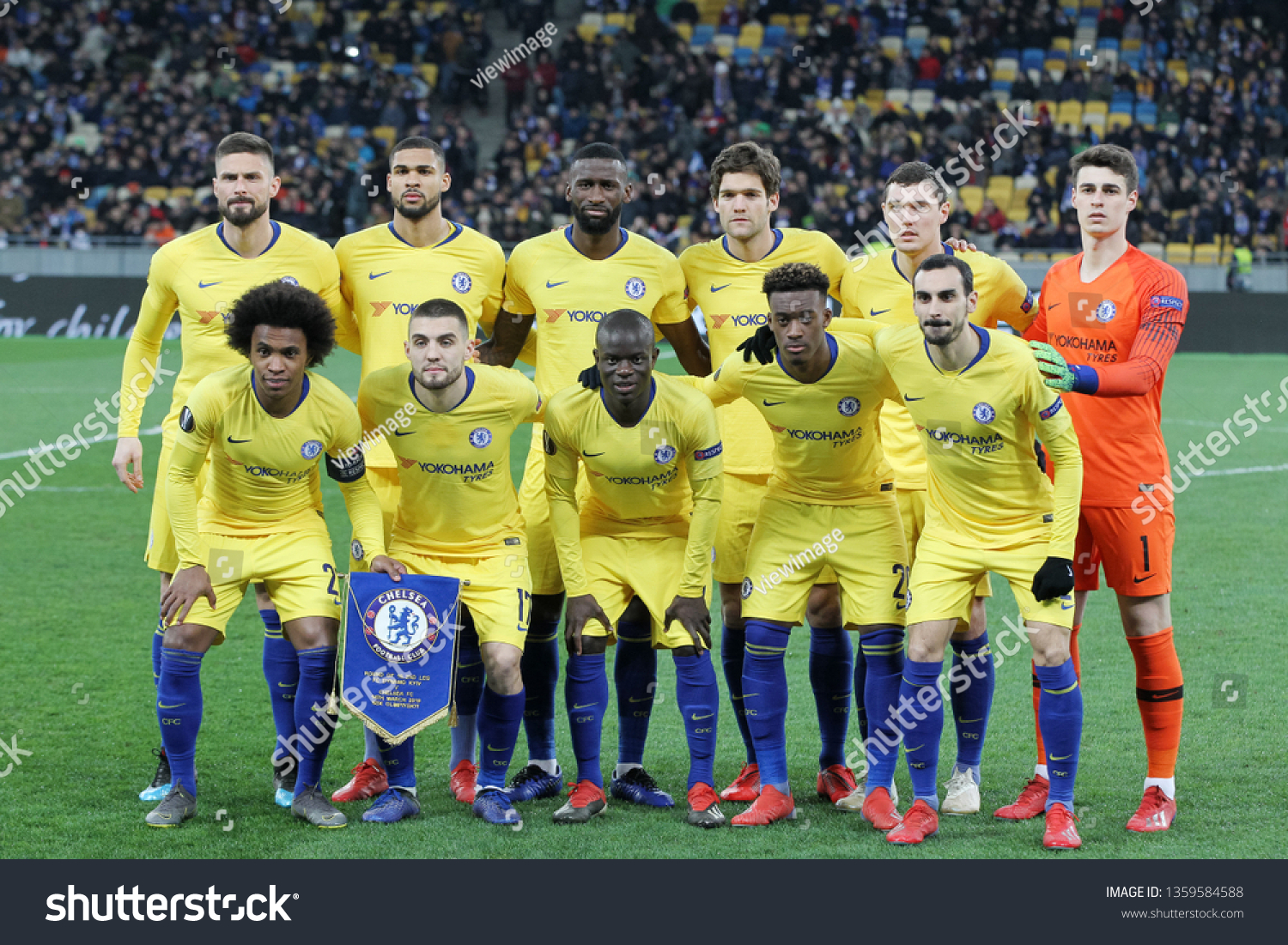 Chelsea Fc Players Pose Before Uefa Stock Photo Edit Now 1359584588