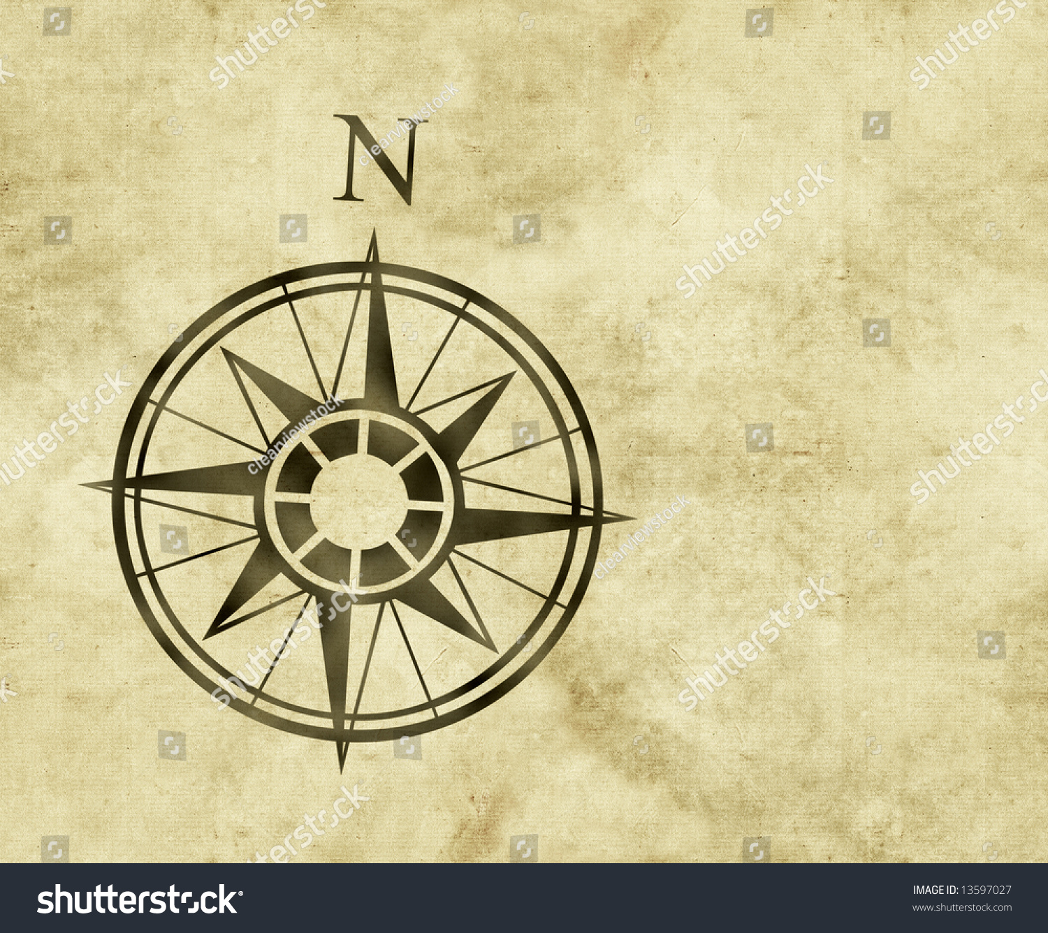 Great north arrow compass on old stock illustration 13597027 great north arrow and compass on old parchment map with copy space biocorpaavc