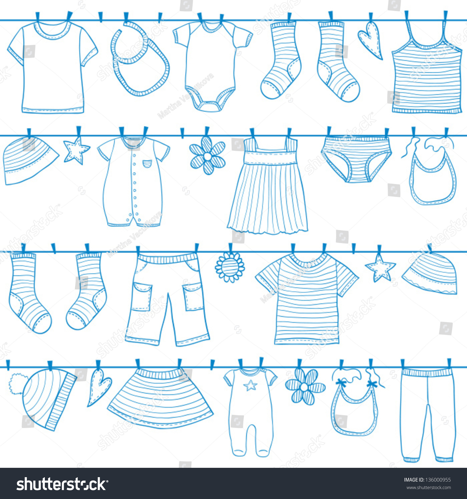Children Baby Clothes Clothesline Seamless Stock