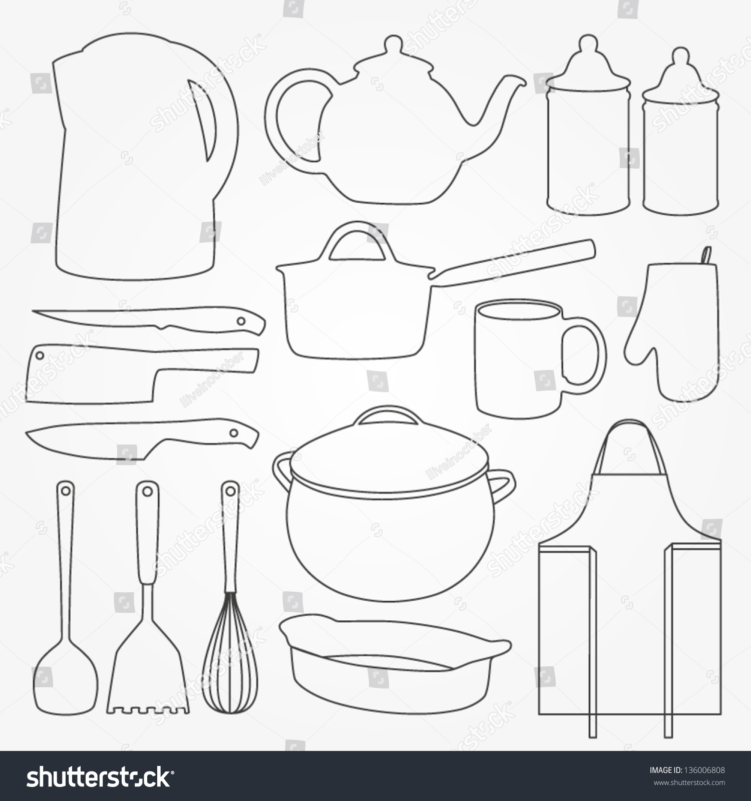 Vector Set Of Kitchen Tools. Retro Cooking Poster. Kitchen ...