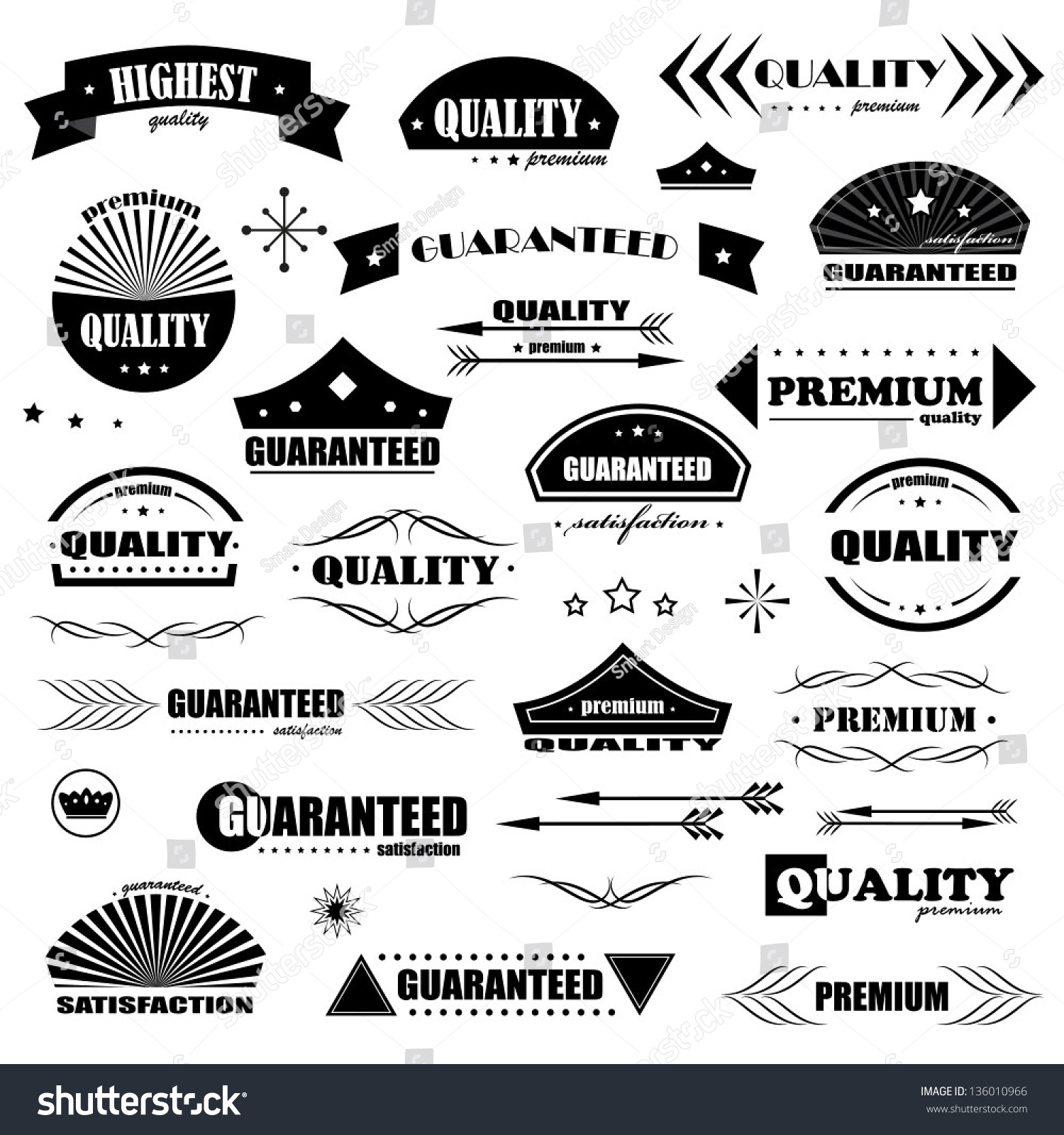 Vintage design elements labels in retro and vintage style - Design elementi ...
