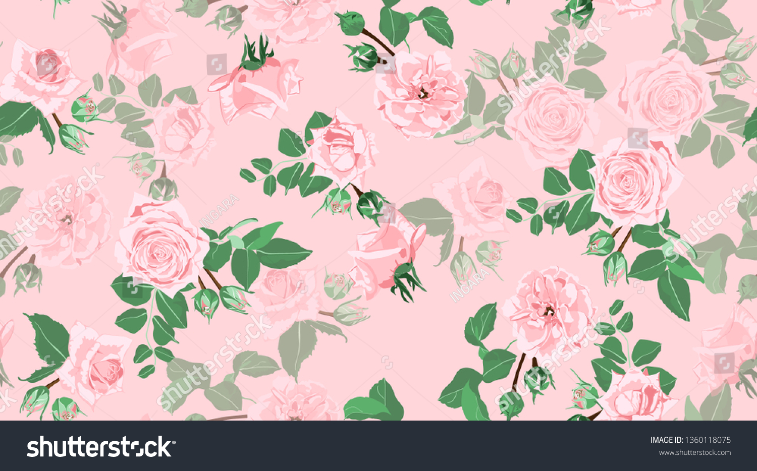 Wedding Pattern Roses Floral Background Vintage Stock Vector