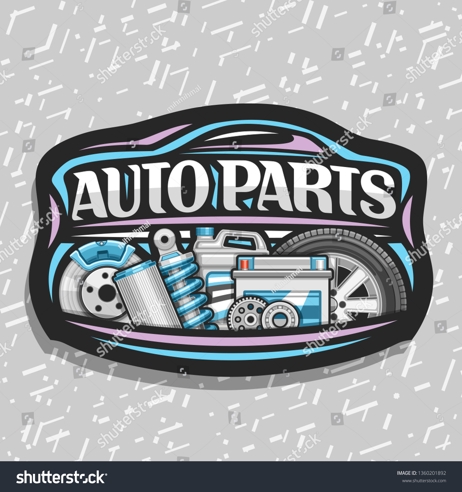 Logo for auto parts store black decorative signboard with blue car shape lettering for words auto parts illustrations of brake system air filter