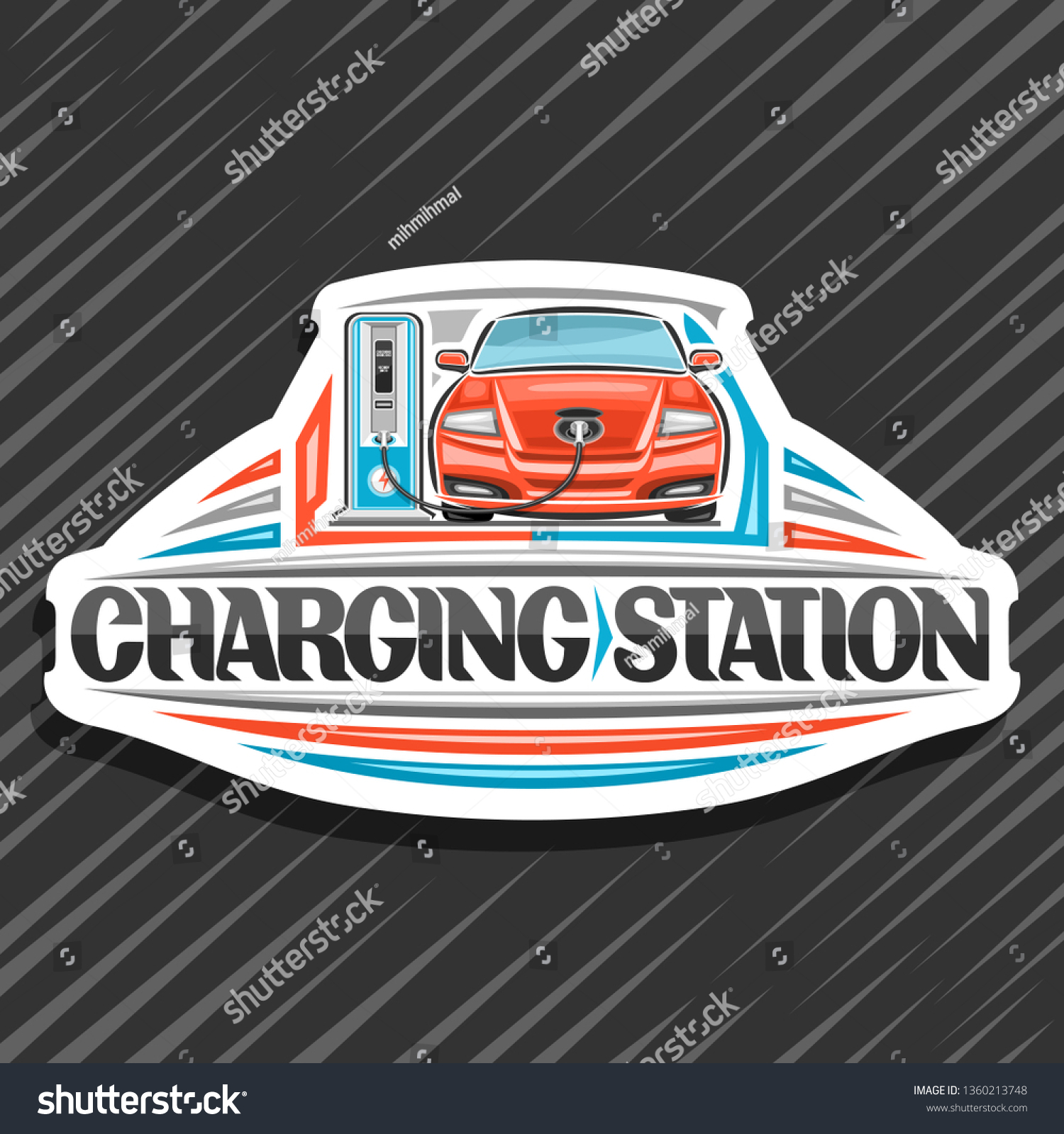 Logo for electric car charging station white design sign board with cartoon electric vehicle loading in high power charger original lettering for words