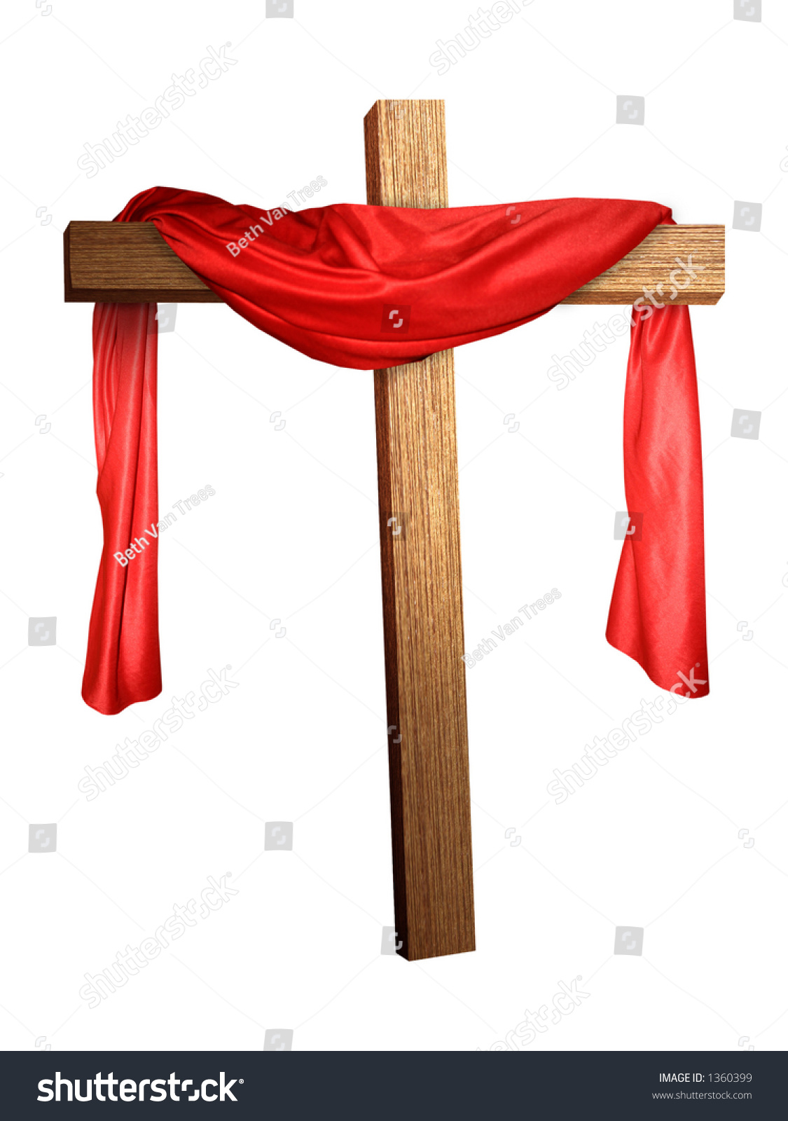 a cross with a red cloth draped on it stock photo 1360399