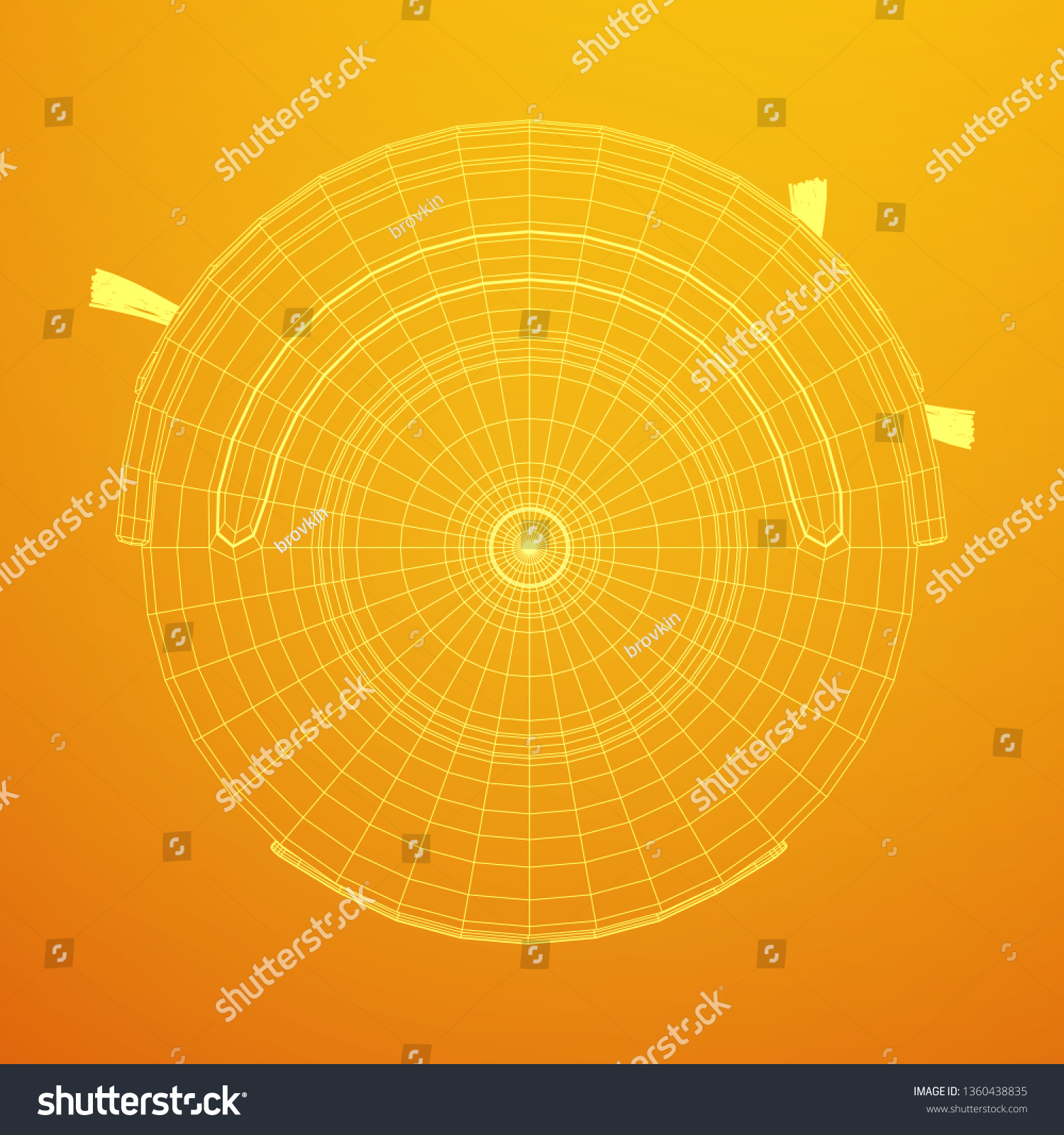 robot vacuum cleaner wireframe low poly mesh 3d render illustration  smart  cleaning technology concept