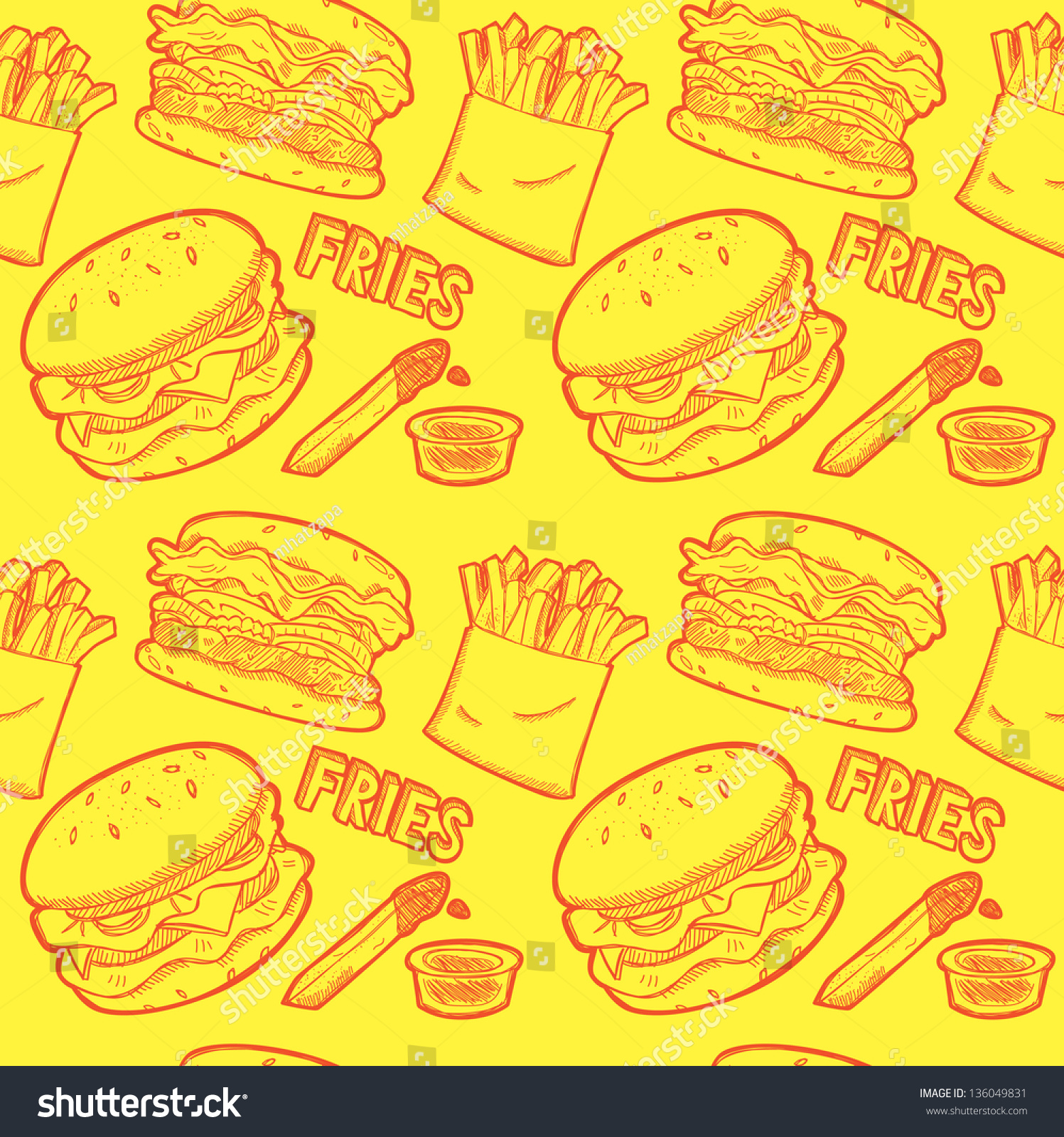 fast food wrapping paper pattern stock vector shutterstock fast food wrapping paper pattern