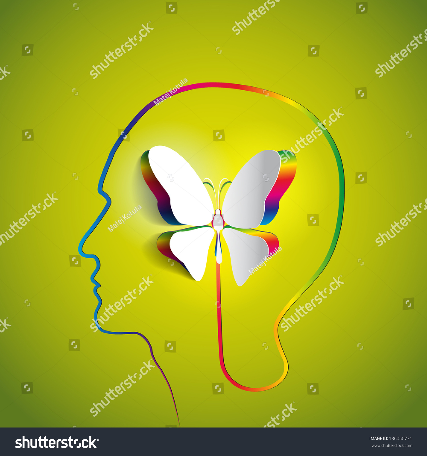 Human head paper butterfly symbol freedom stock vector 136050731 human head with paper butterfly symbol freedom and creativity design concepts biocorpaavc Image collections