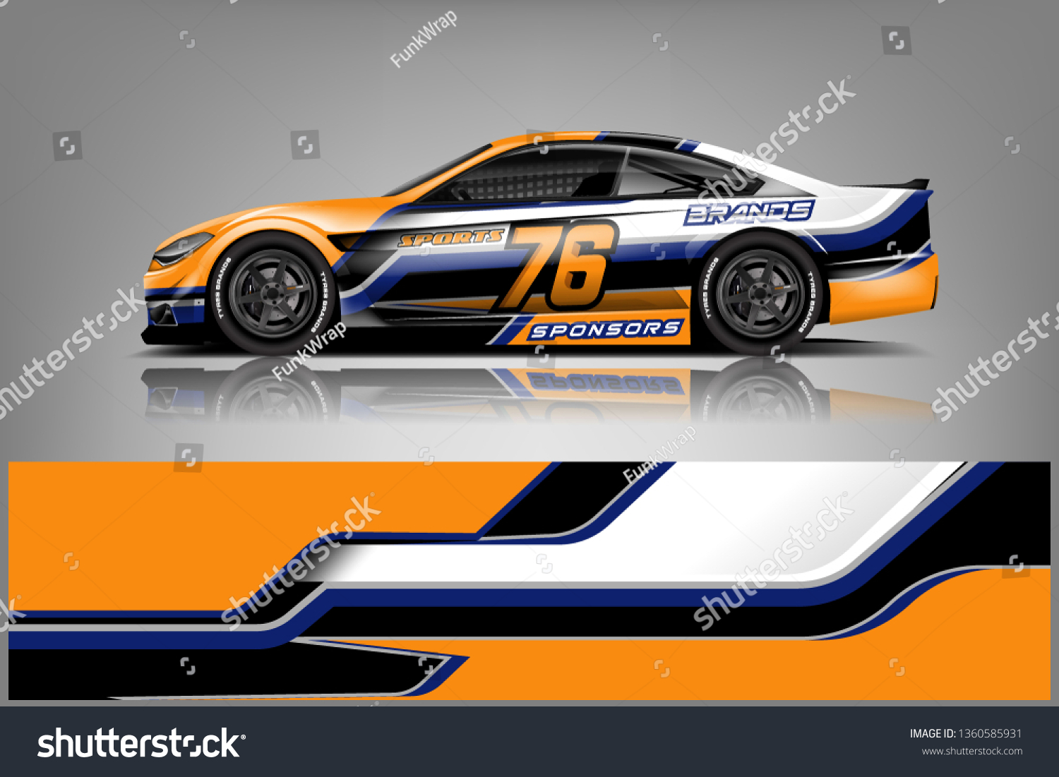 Sport car decal wrap design vector graphic abstract stripe racing background kit designs for vehicle