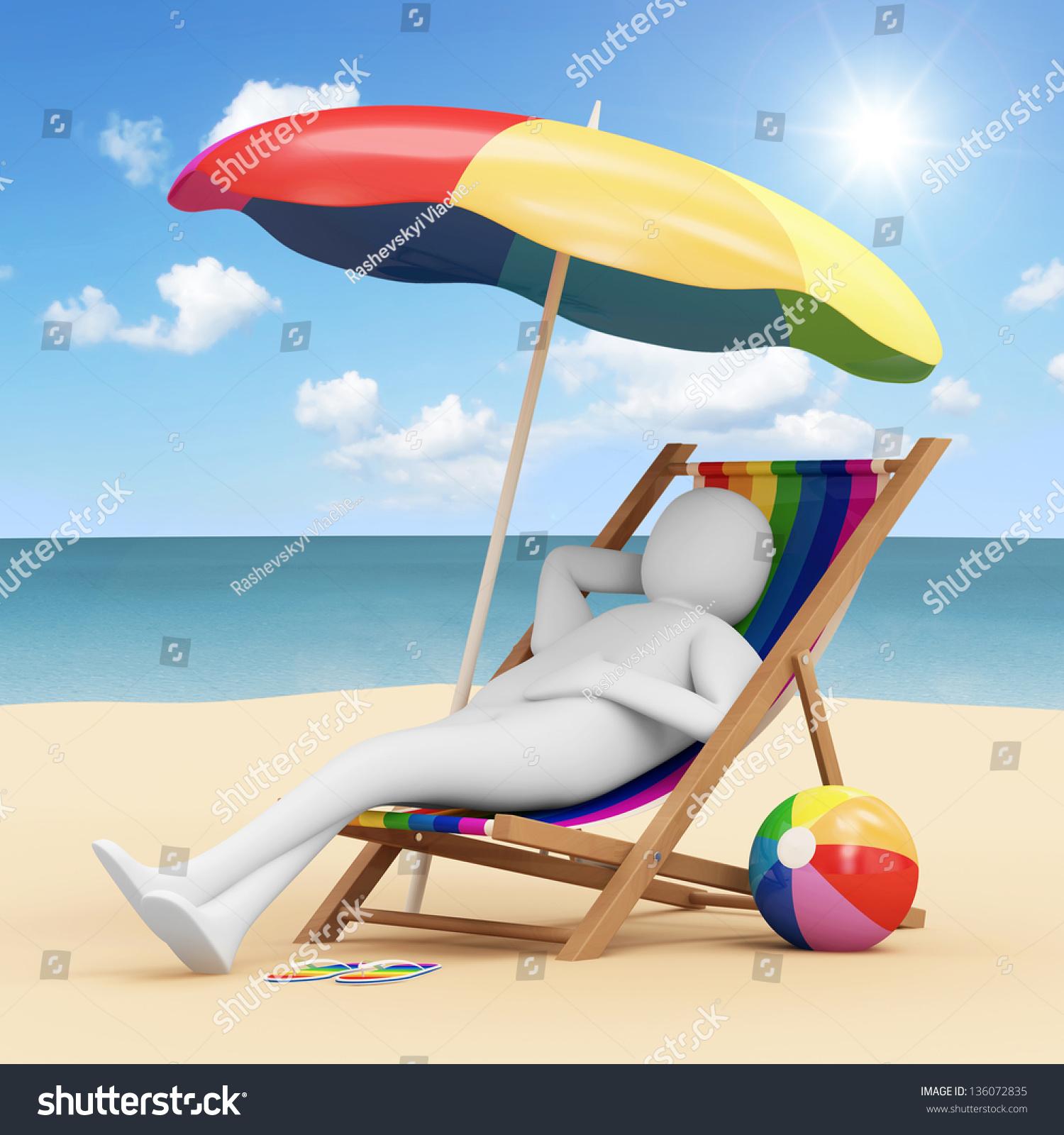 3d Man Lying Beach Chair Stock Illustration