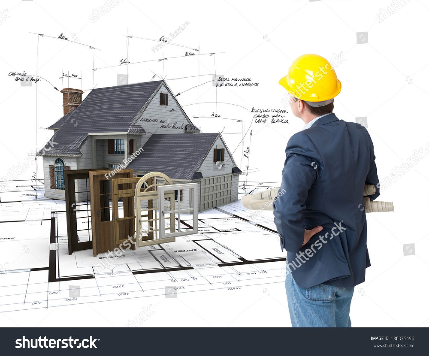 architect looking house on blueprints choice stock photo 136075496 shutterstock. Black Bedroom Furniture Sets. Home Design Ideas