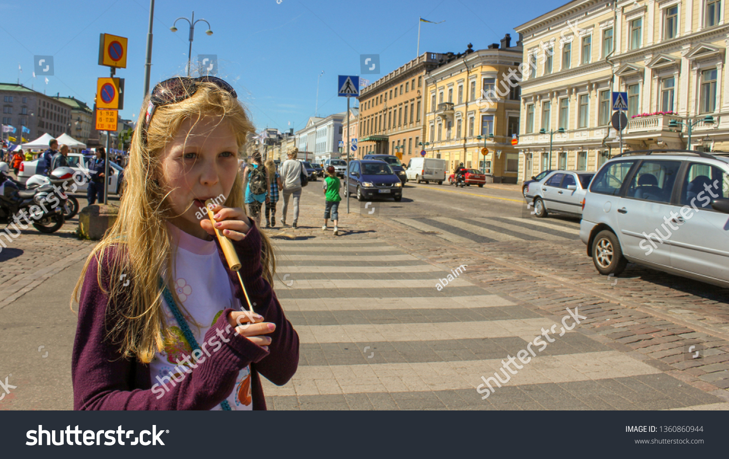 helsinki girl Beautiful girl sits on the stairs of Helsinki Cathedral, on the..