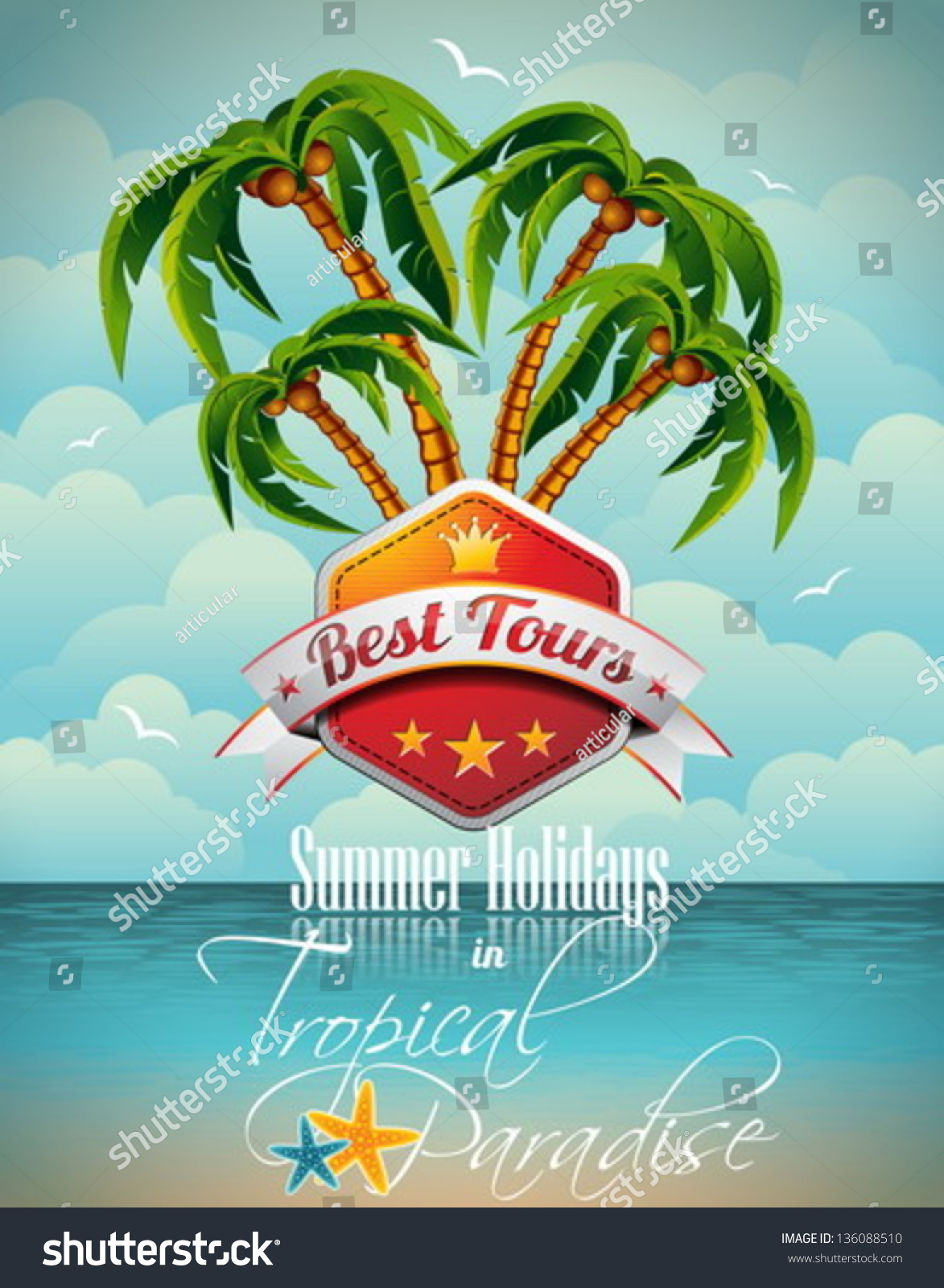 vector summer holiday flyer design palm stock vector  vector summer holiday flyer design palm trees and best tour banner on sea background
