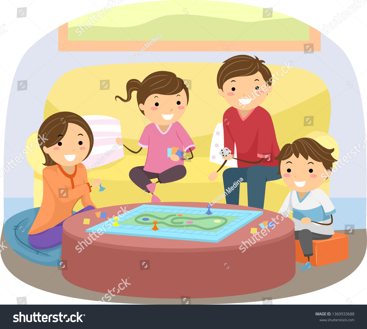 Illustration Stickman Family Playing Board Game Stock Vector Royalty Free 1360933688
