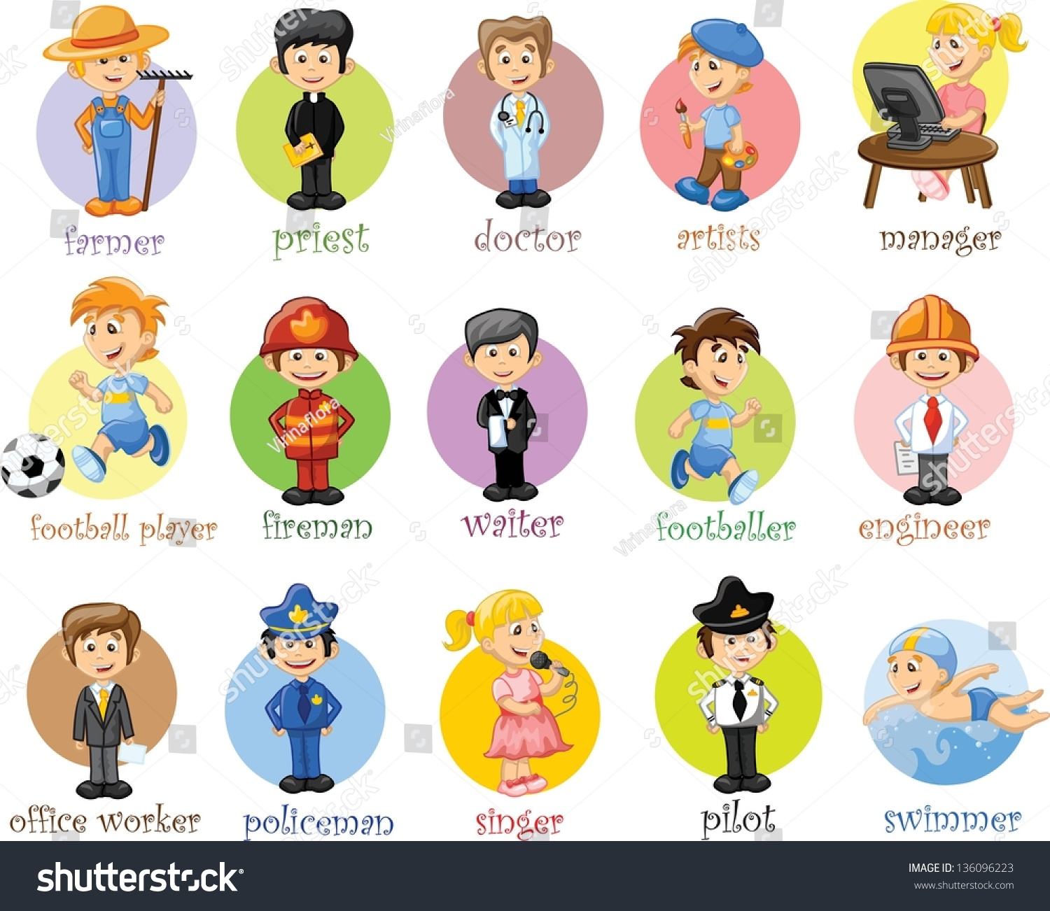 Cartoon Characters Jobs : Cartoon characters different professions stock vector