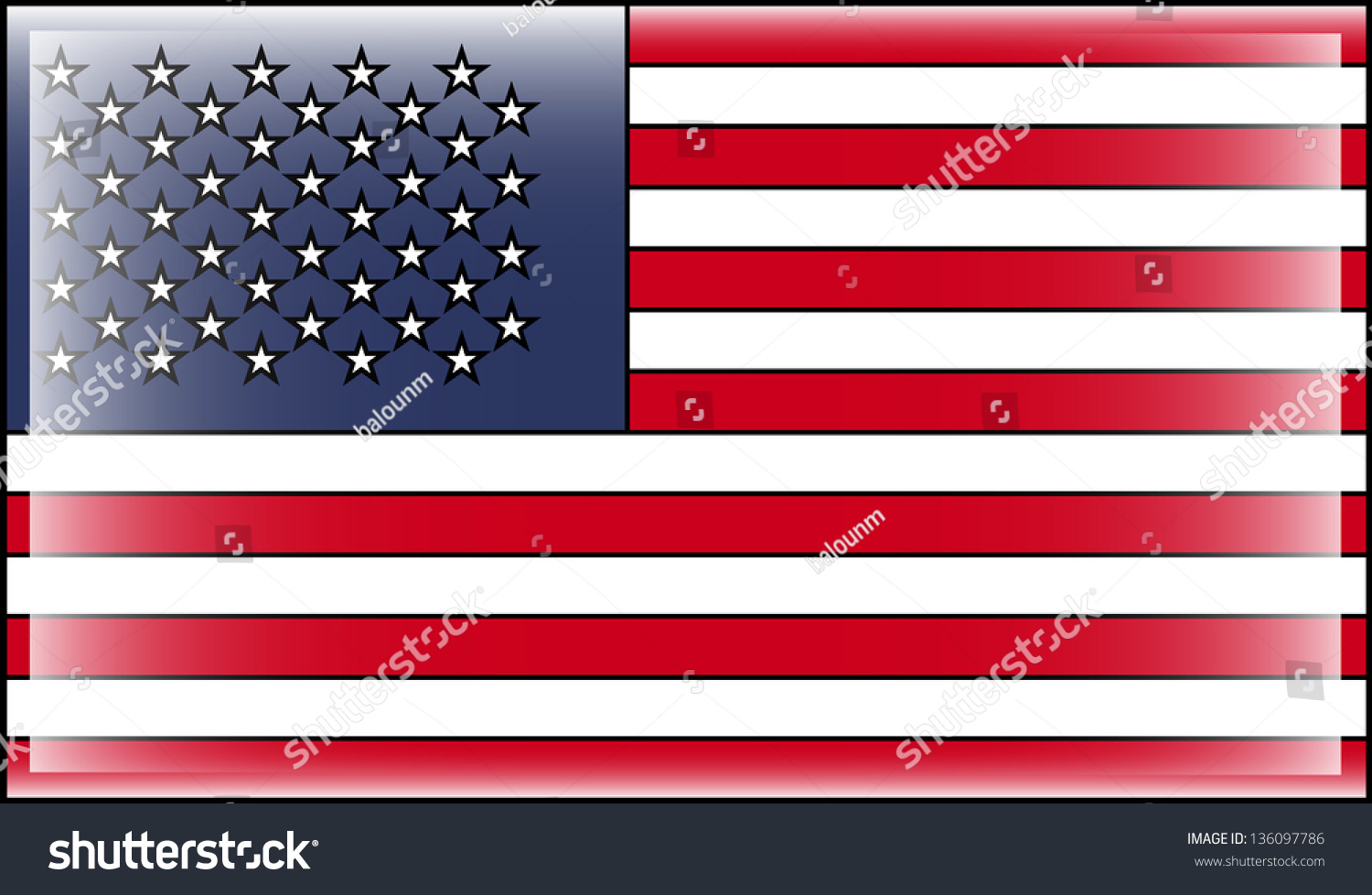 usa american flag with black outline