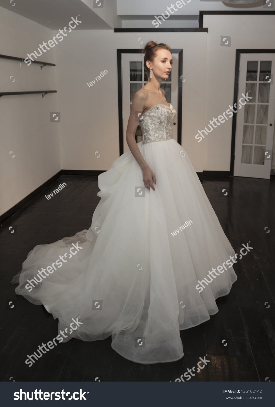 New york april 21 model shows off wedding dress by for 37th street salon