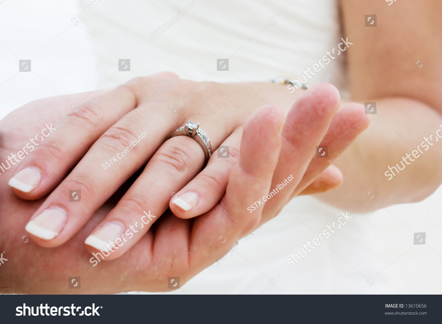 Couple Holding Hands Wedding Rings Just Stock Photo (Safe to Use ...