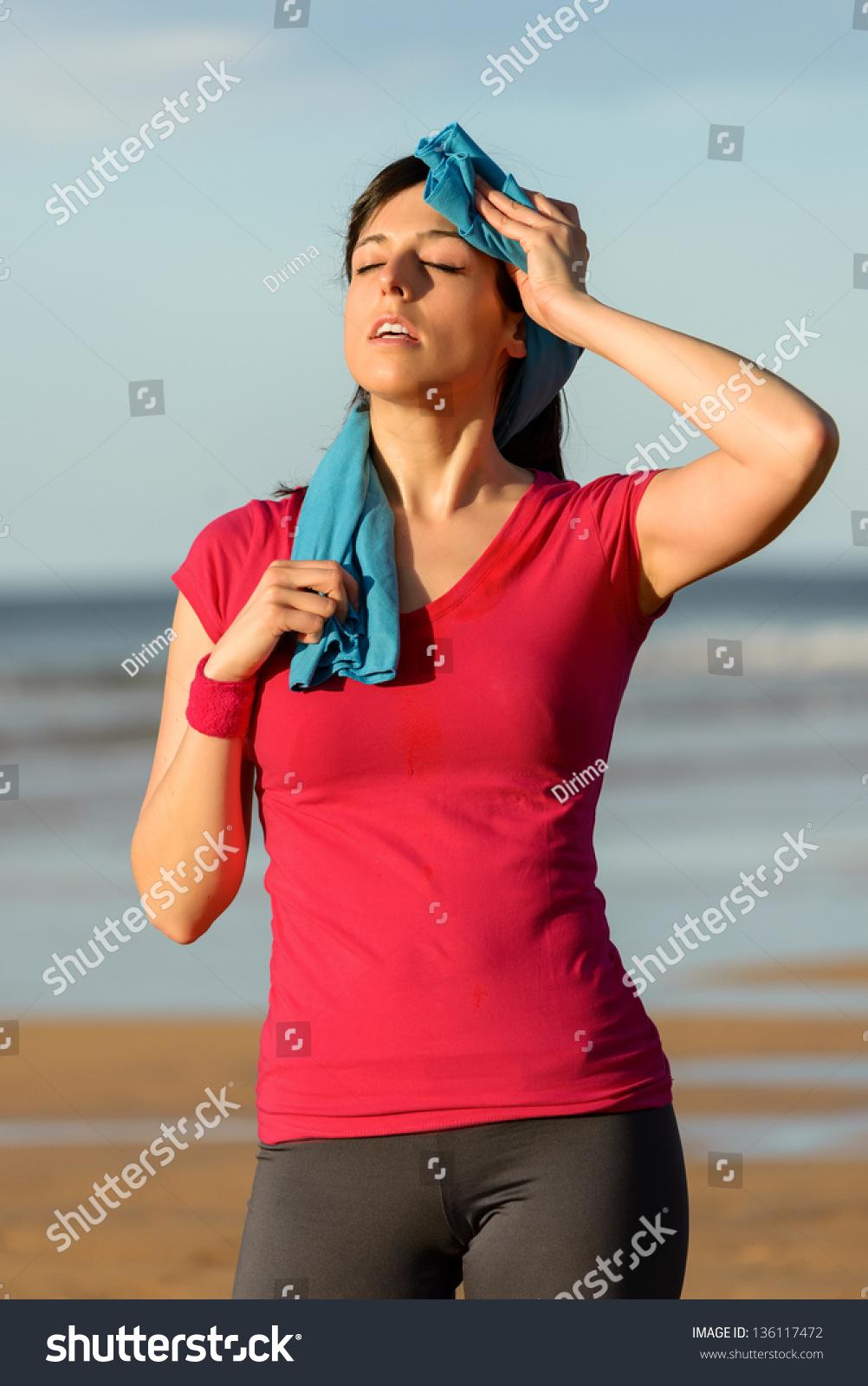 athlete girlfriend thong on beach